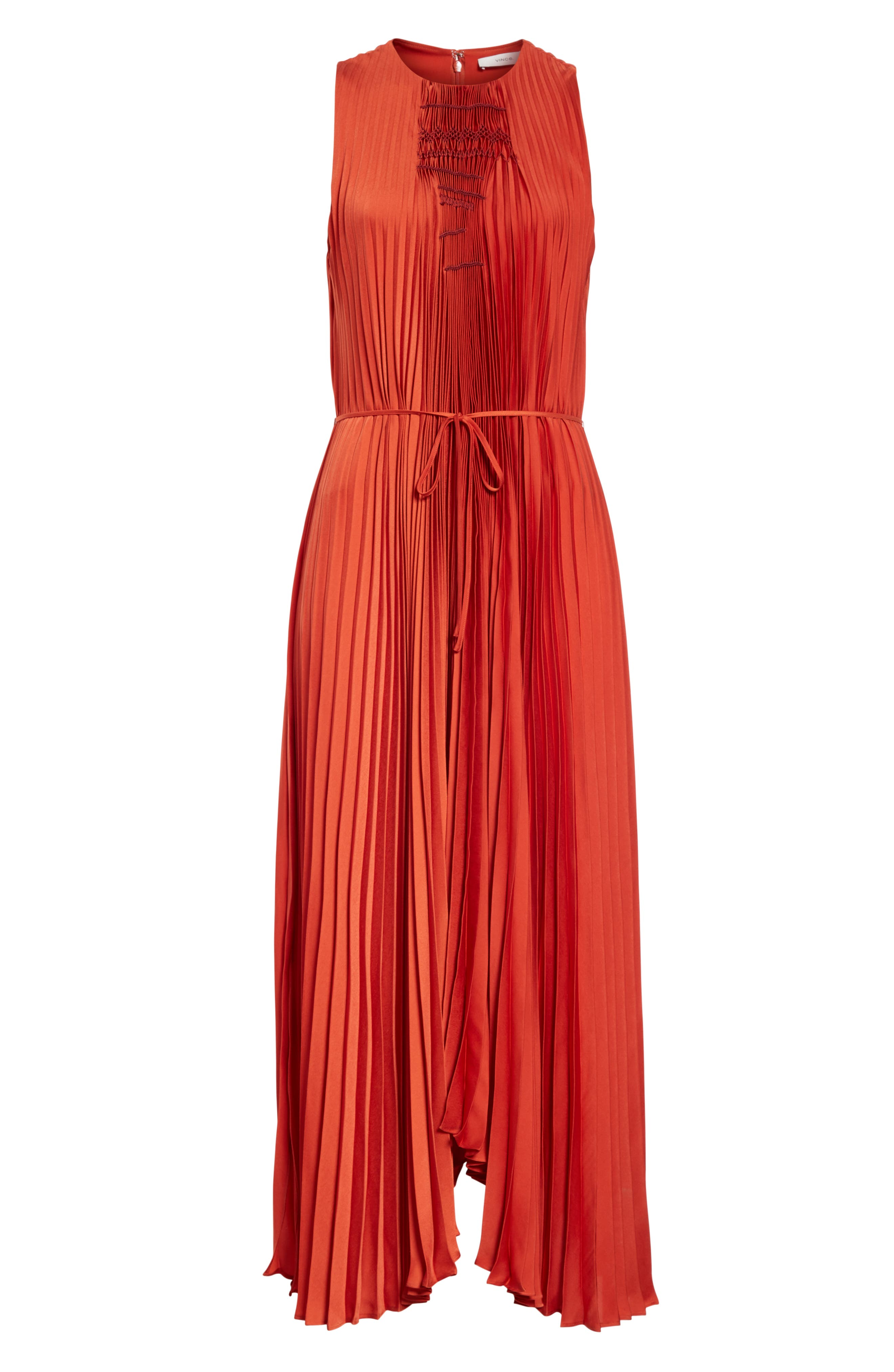 VINCE, Smocked Maxi Dress, Alternate thumbnail 7, color, ADOBE RED