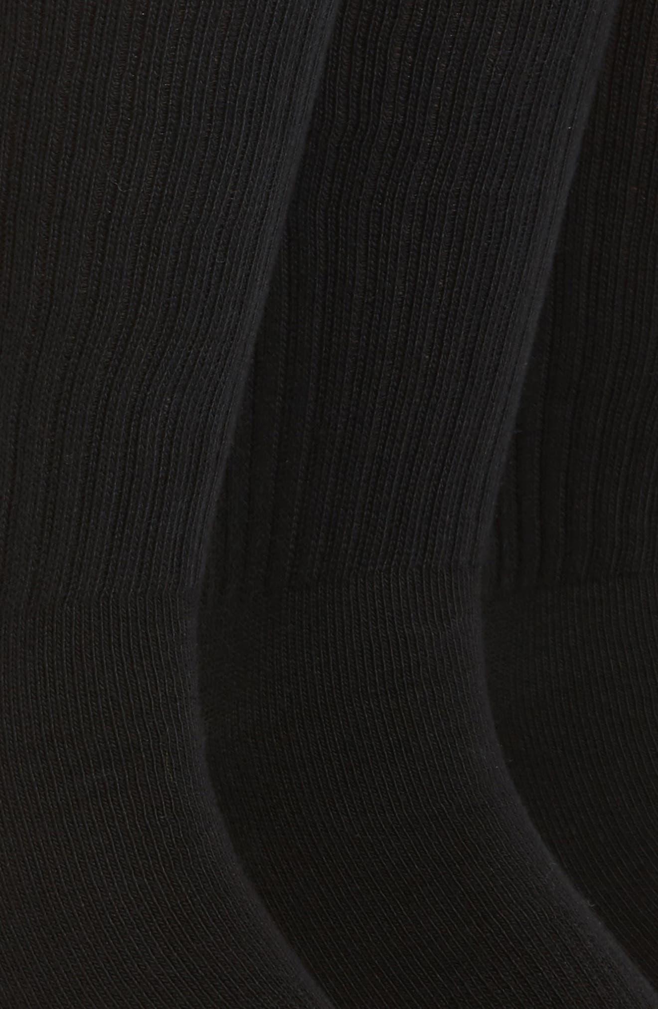 NORDSTROM MEN'S SHOP, 3-Pack Crew Cut Athletic Socks, Alternate thumbnail 2, color, BLACK