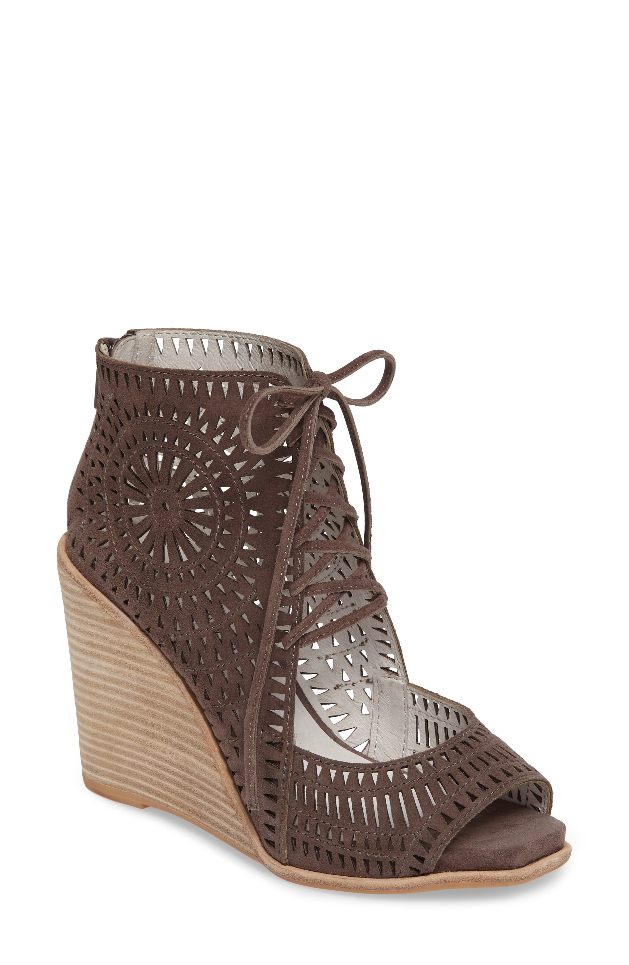 JEFFREY CAMPBELL Rayos Perforated Wedge Sandal, Main, color, 200