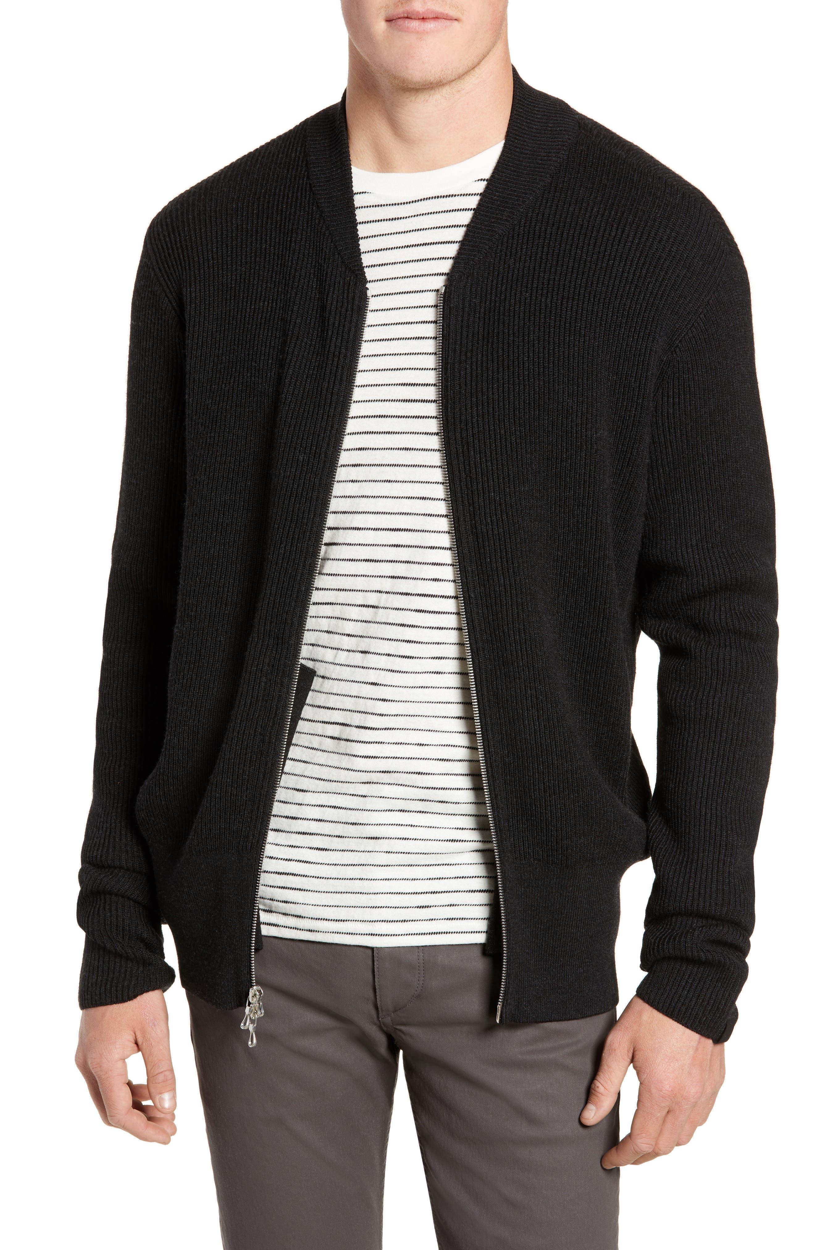RAG & BONE, Andrew Zip Front Merino Wool Sweater, Main thumbnail 1, color, BLACK HEATHER