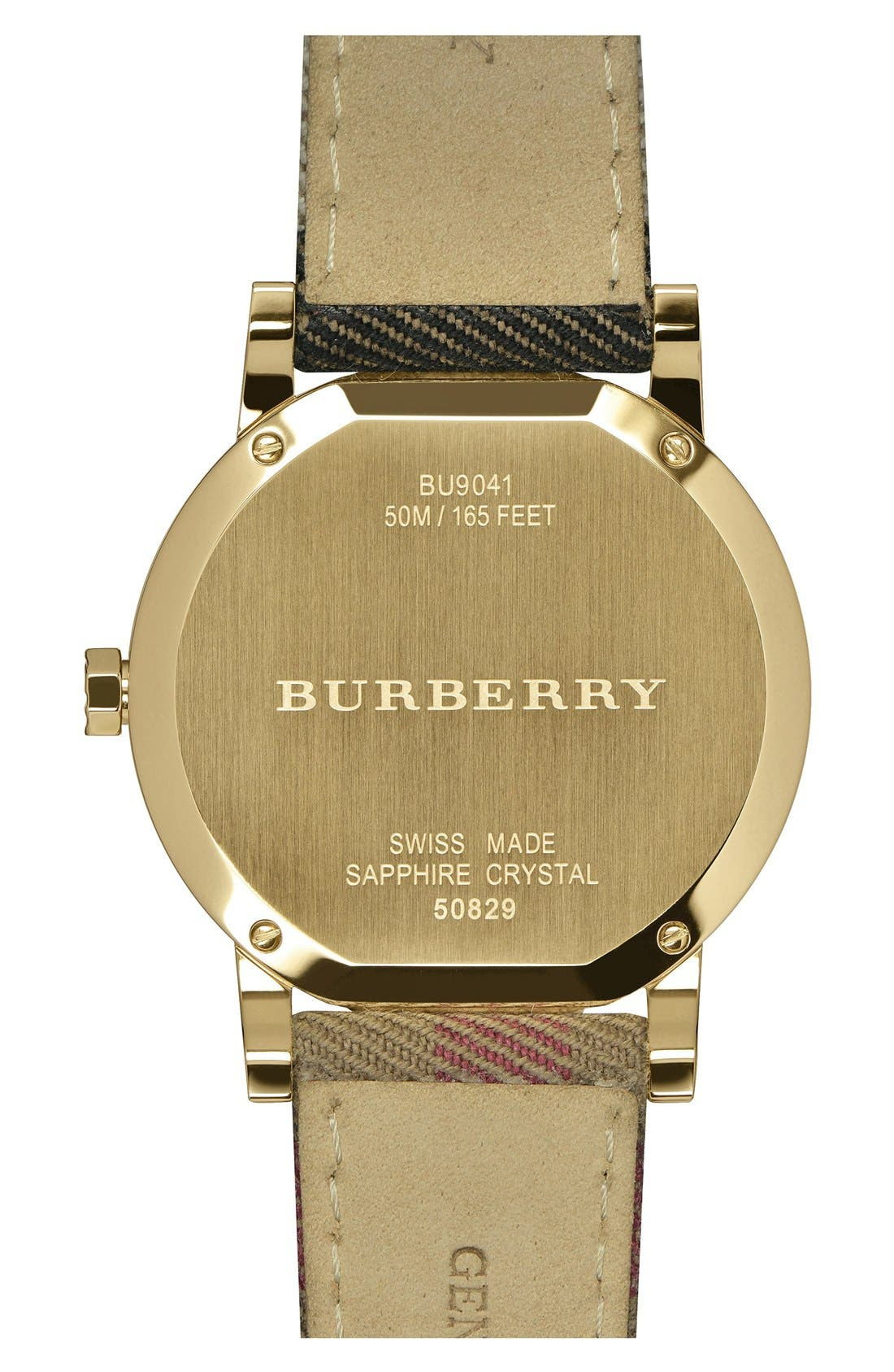 BURBERRY, 'The City' Woven Strap Watch, 38mm, Alternate thumbnail 3, color, 001