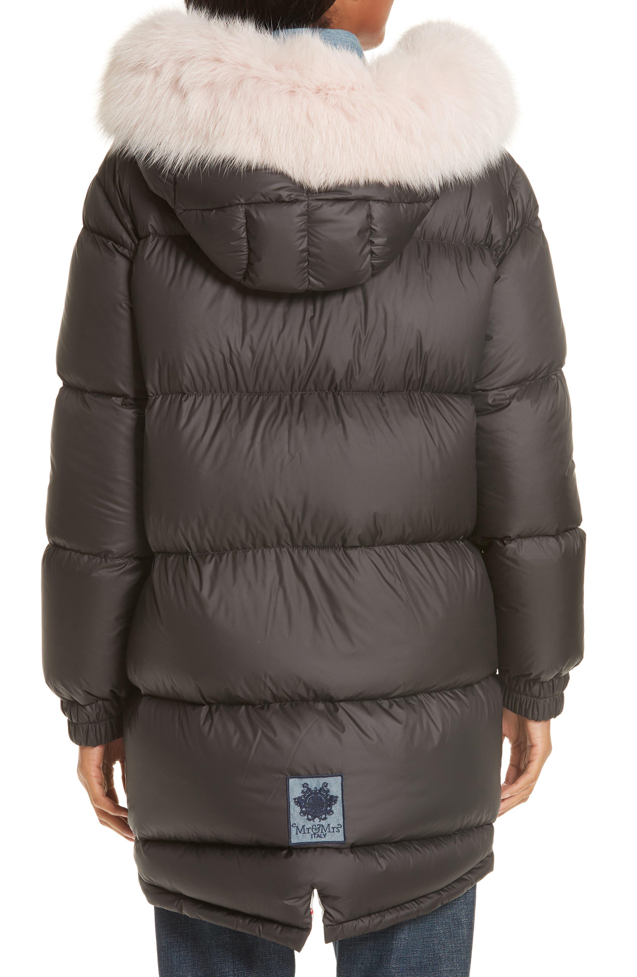 MR & MRS ITALY, Genuine Fox Fur Trim Down Fill Puffer Coat, Alternate thumbnail 4, color, BLACK
