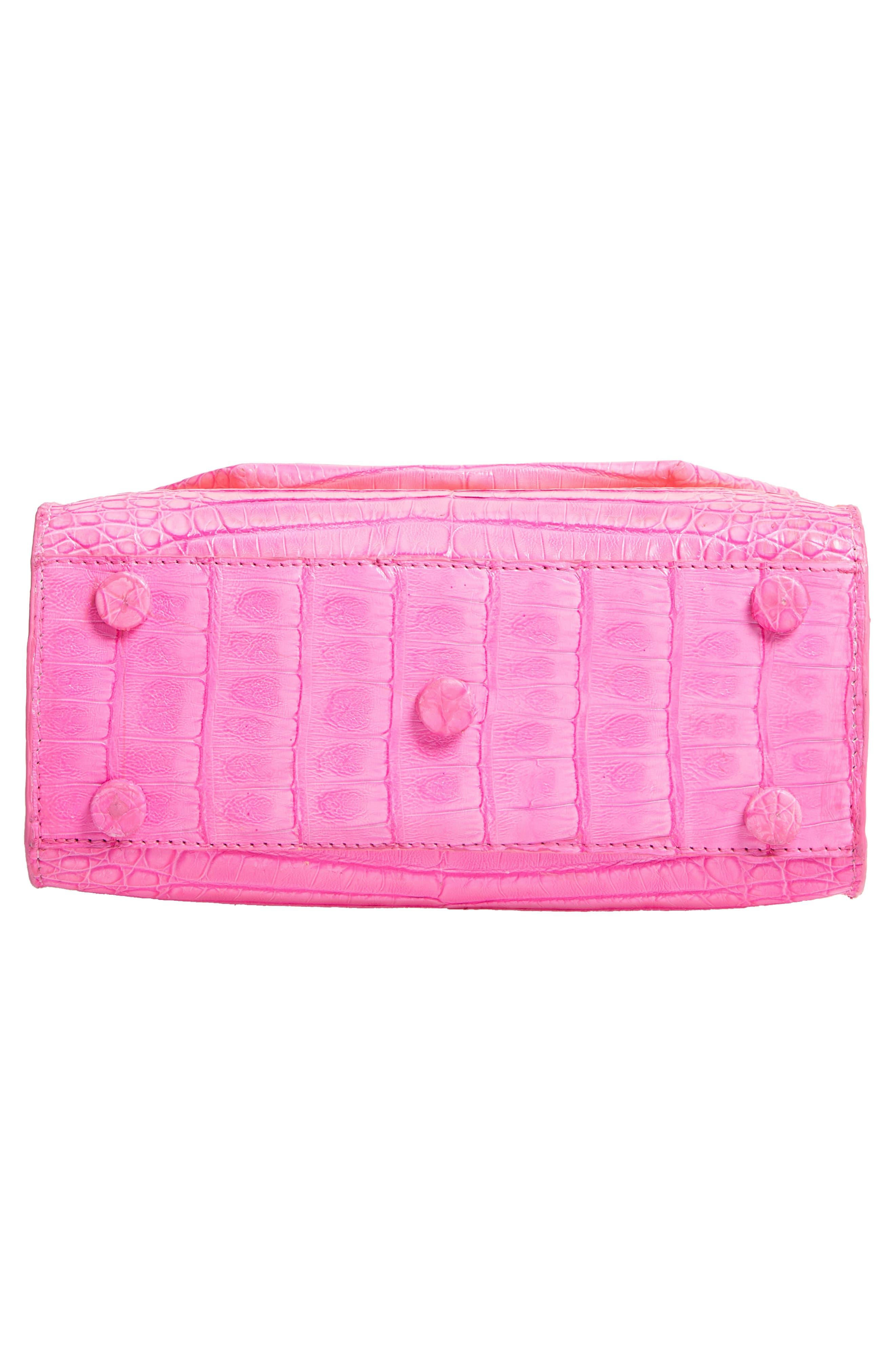 NANCY GONZALEZ, Mini Lily Genuine Crocodile Crossbody Bag, Alternate thumbnail 6, color, PINK DEGRADE
