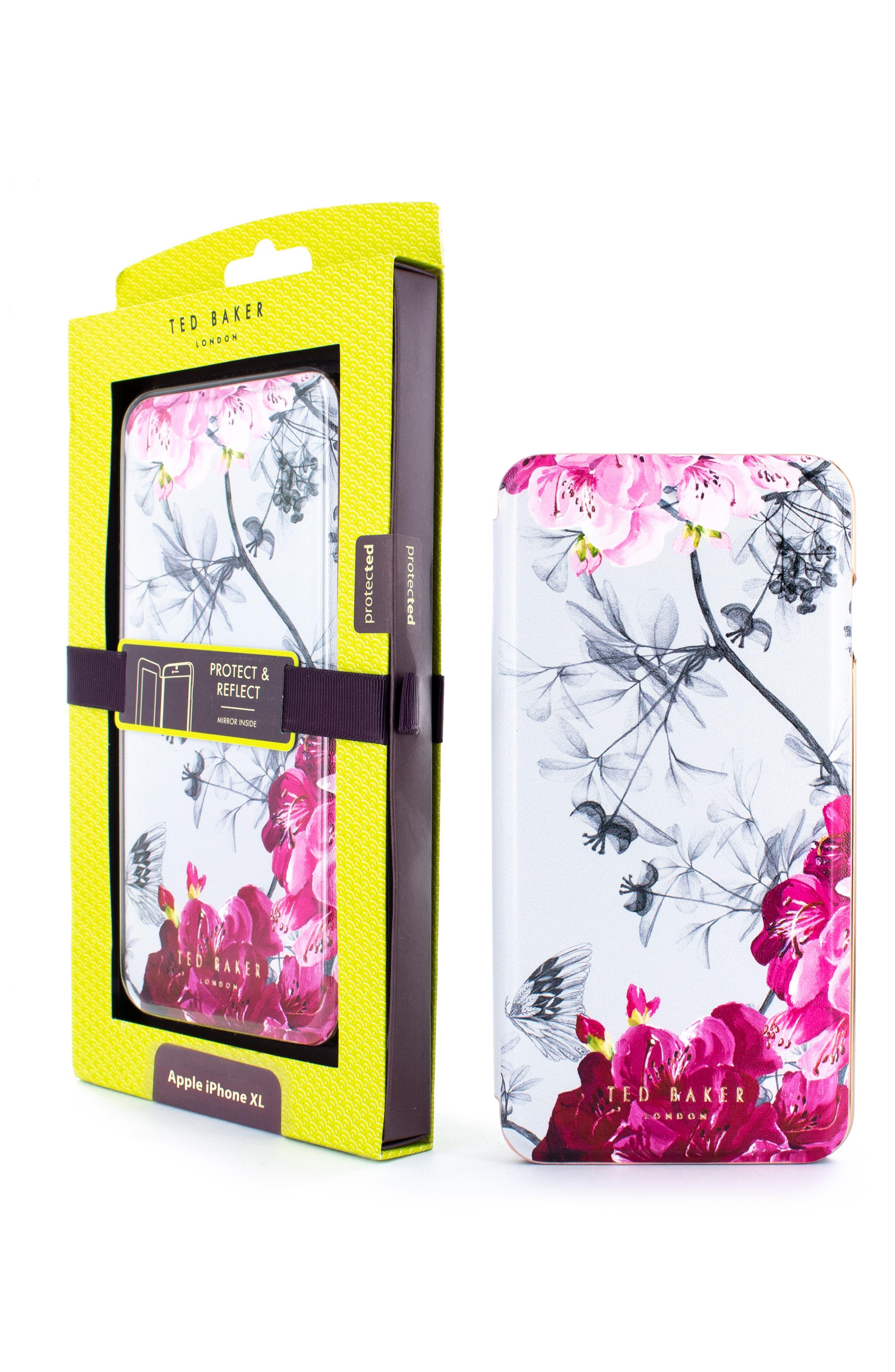 TED BAKER LONDON, Babylon iPhone X/Xs/Xs Max & XR Mirror Folio Case, Alternate thumbnail 6, color, GREY
