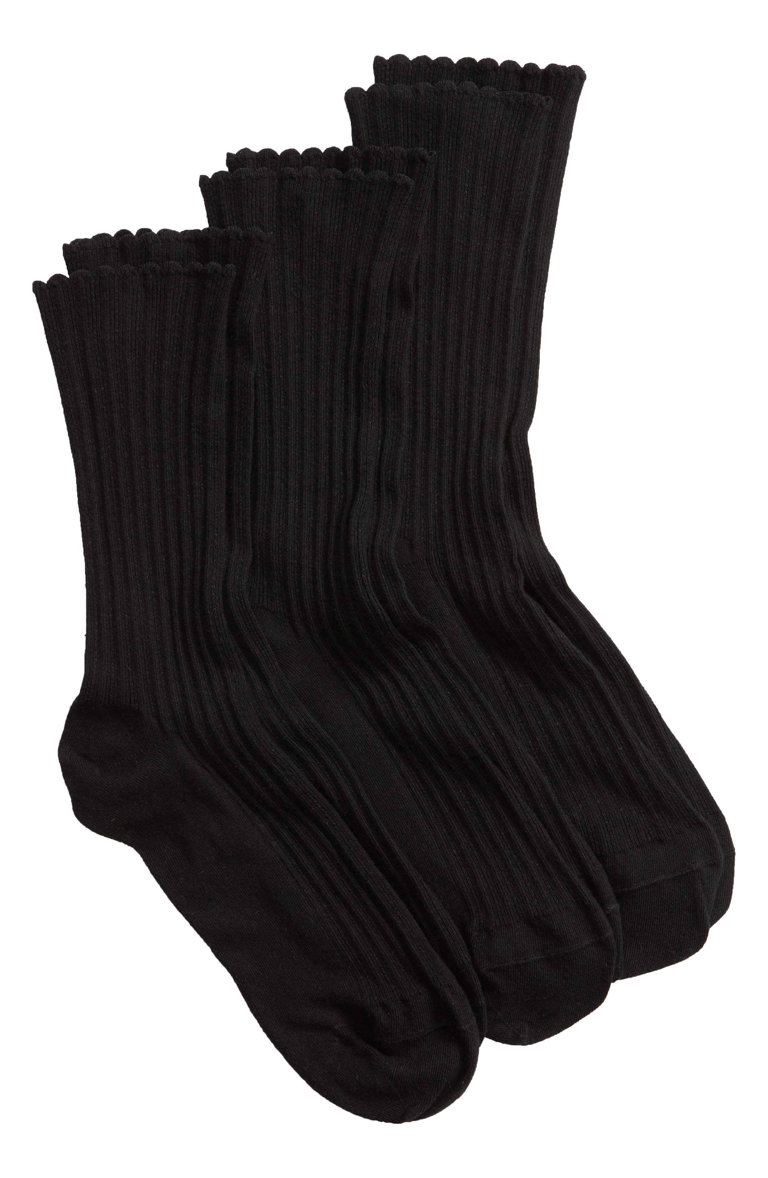 HUE, 3-Pack Scalloped Rib Crew Socks, Main thumbnail 1, color, BLACK