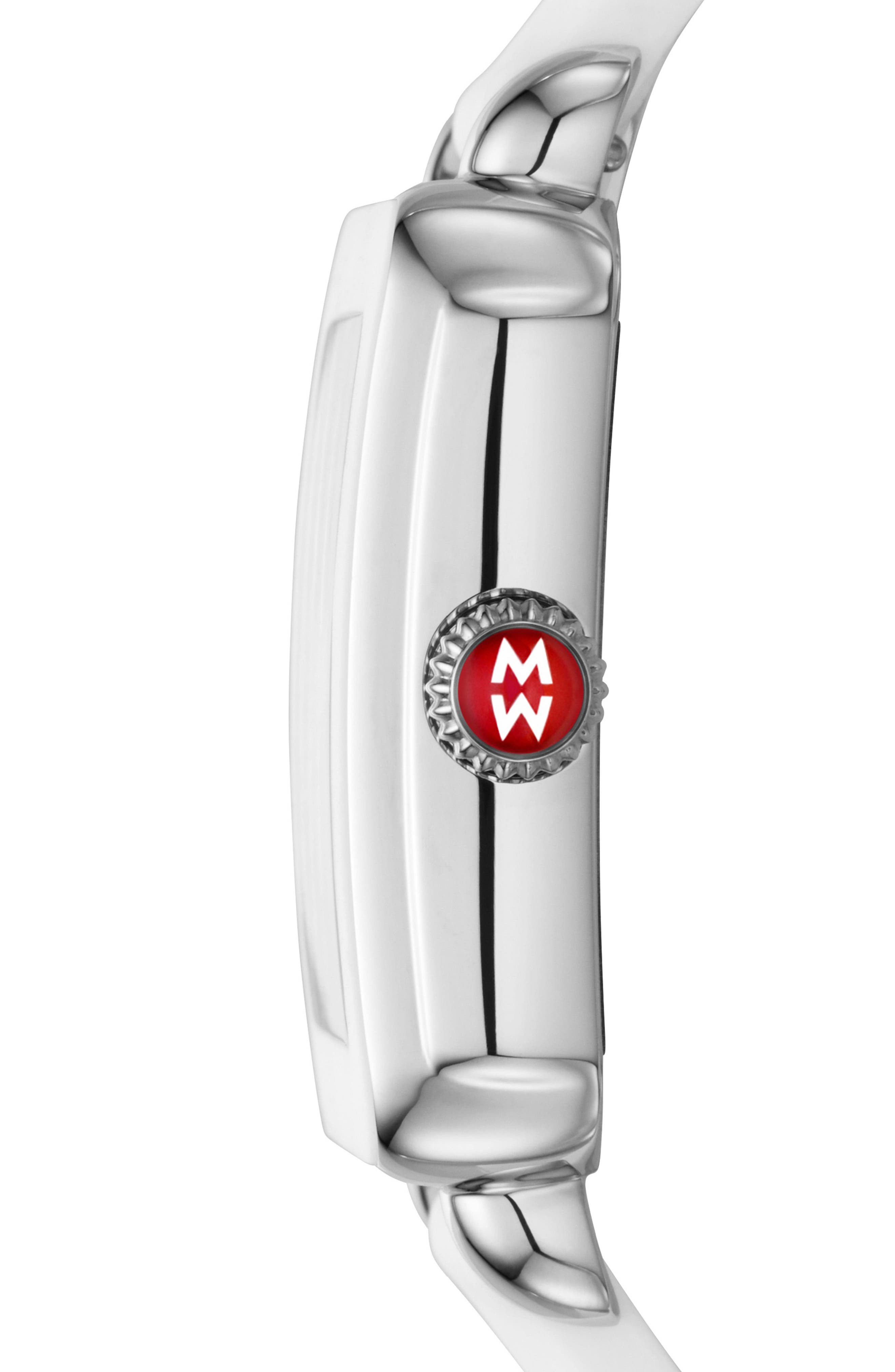 MICHELE, Deco Madison Mid Diamond Dial Watch Head, 29mm x 31mm, Alternate thumbnail 3, color, SILVER/ SILVER WHITE SUNRAY