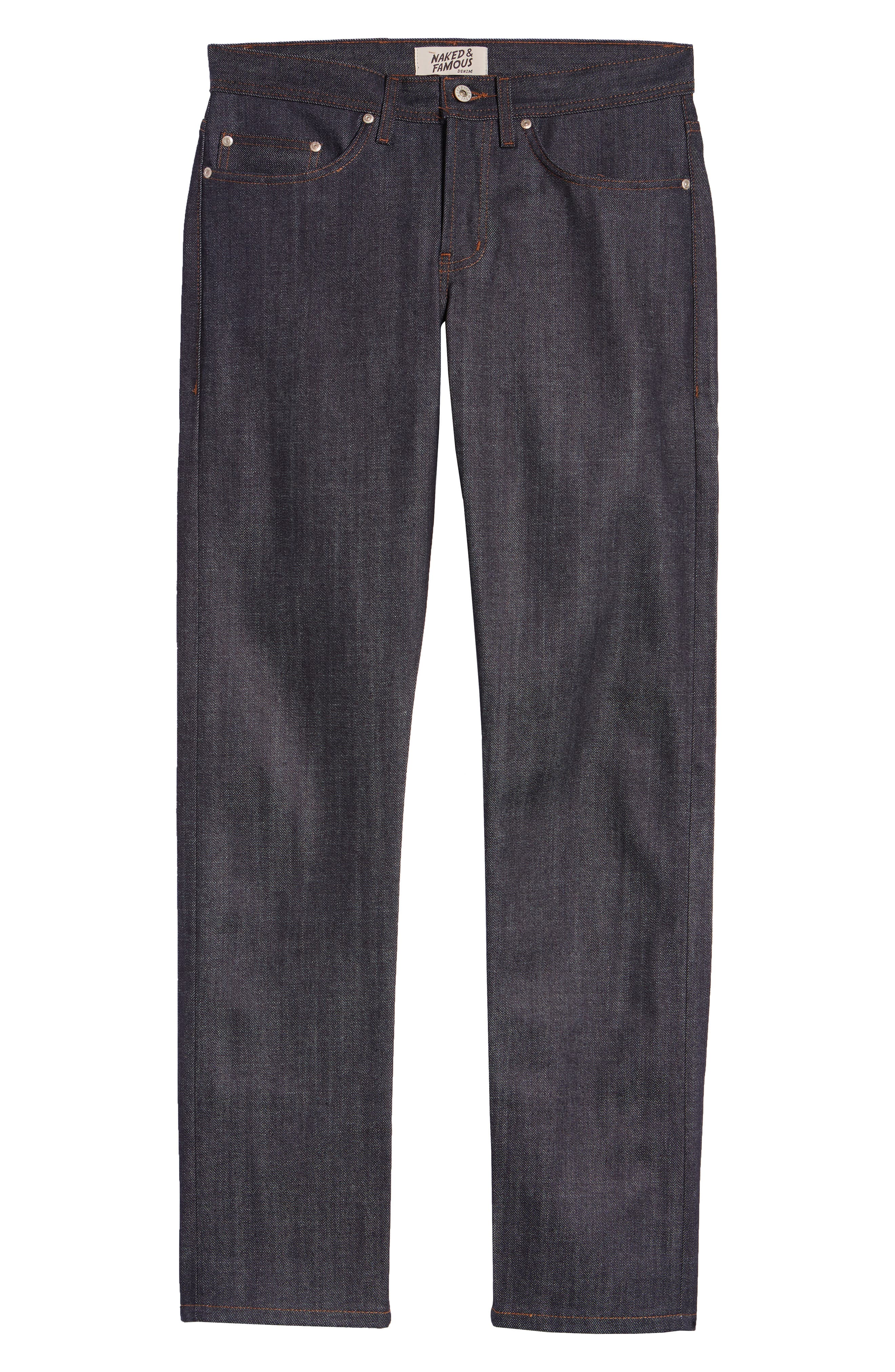 NAKED & FAMOUS DENIM, Weird Guy Slim Fit Raw Jeans, Alternate thumbnail 2, color, STRETCH SELVEDGE