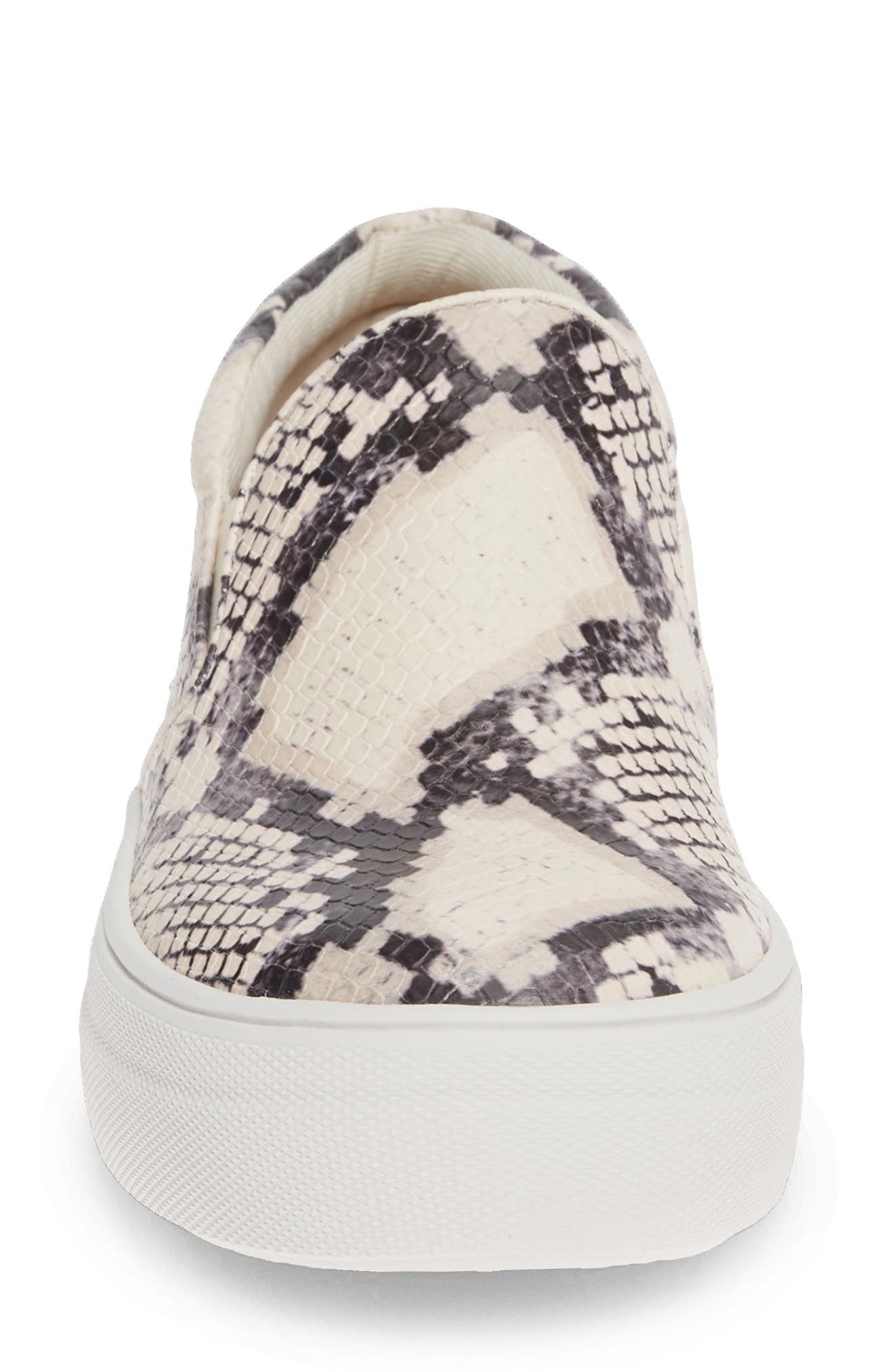 STEVE MADDEN, Gills Platform Slip-On Sneaker, Alternate thumbnail 4, color, BEIGE SNAKE PRINT