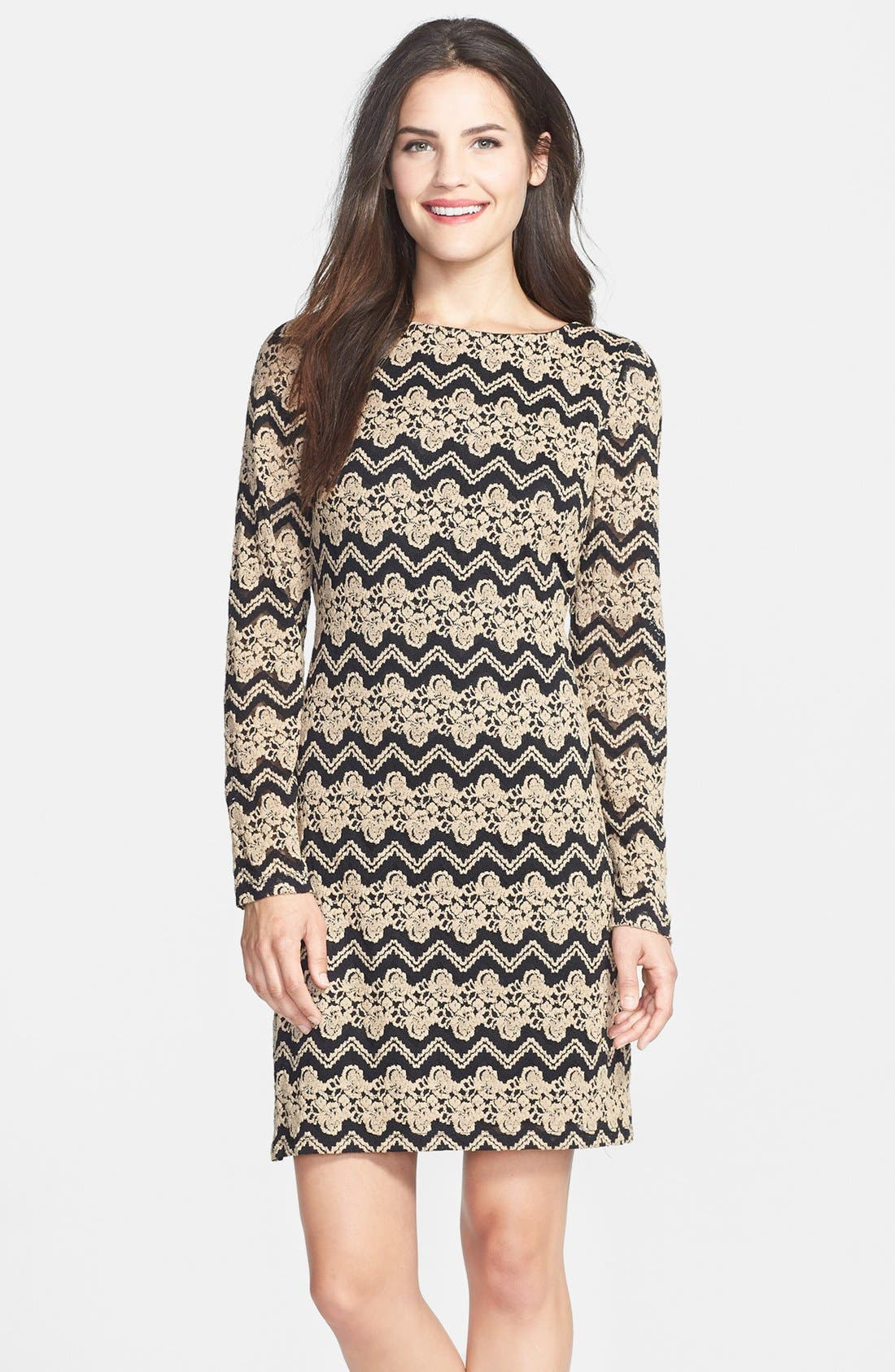 ELIZA J, Chevron Lace Shift Dress, Main thumbnail 1, color, 001
