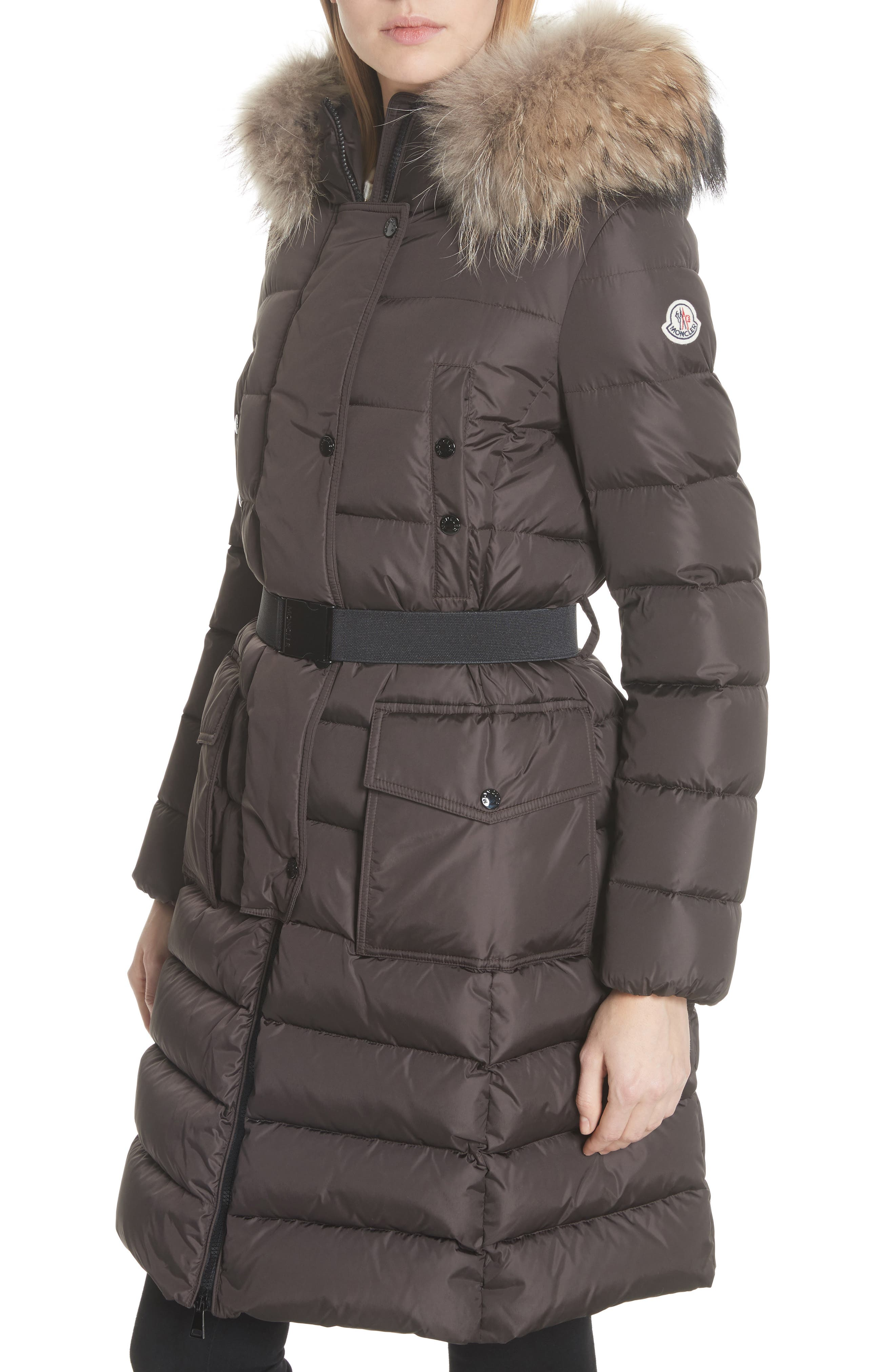 MONCLER, 'Khloe' Water Resistant Nylon Down Puffer Parka with Removable Genuine Fox Fur Trim, Alternate thumbnail 5, color, BROWN