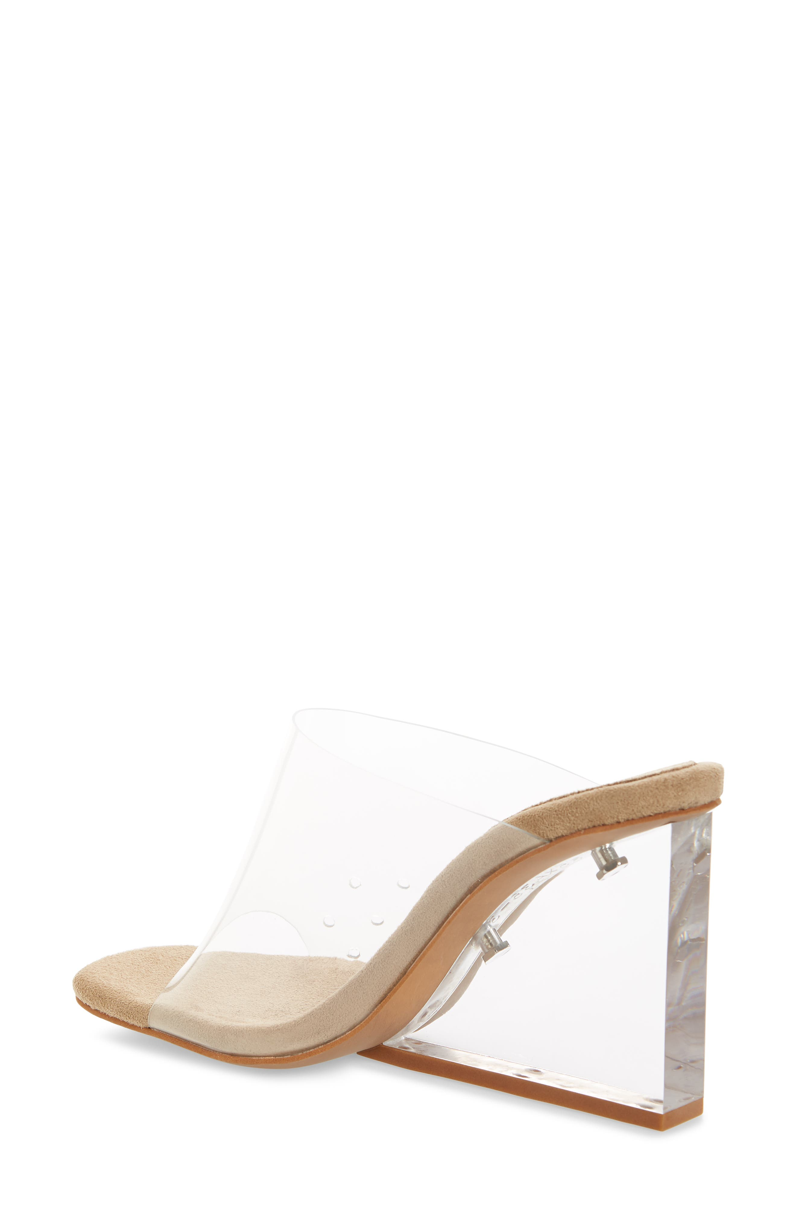 JEFFREY CAMPBELL, Clear Wedge Mule, Alternate thumbnail 2, color, CLEAR FAUX LEATHER
