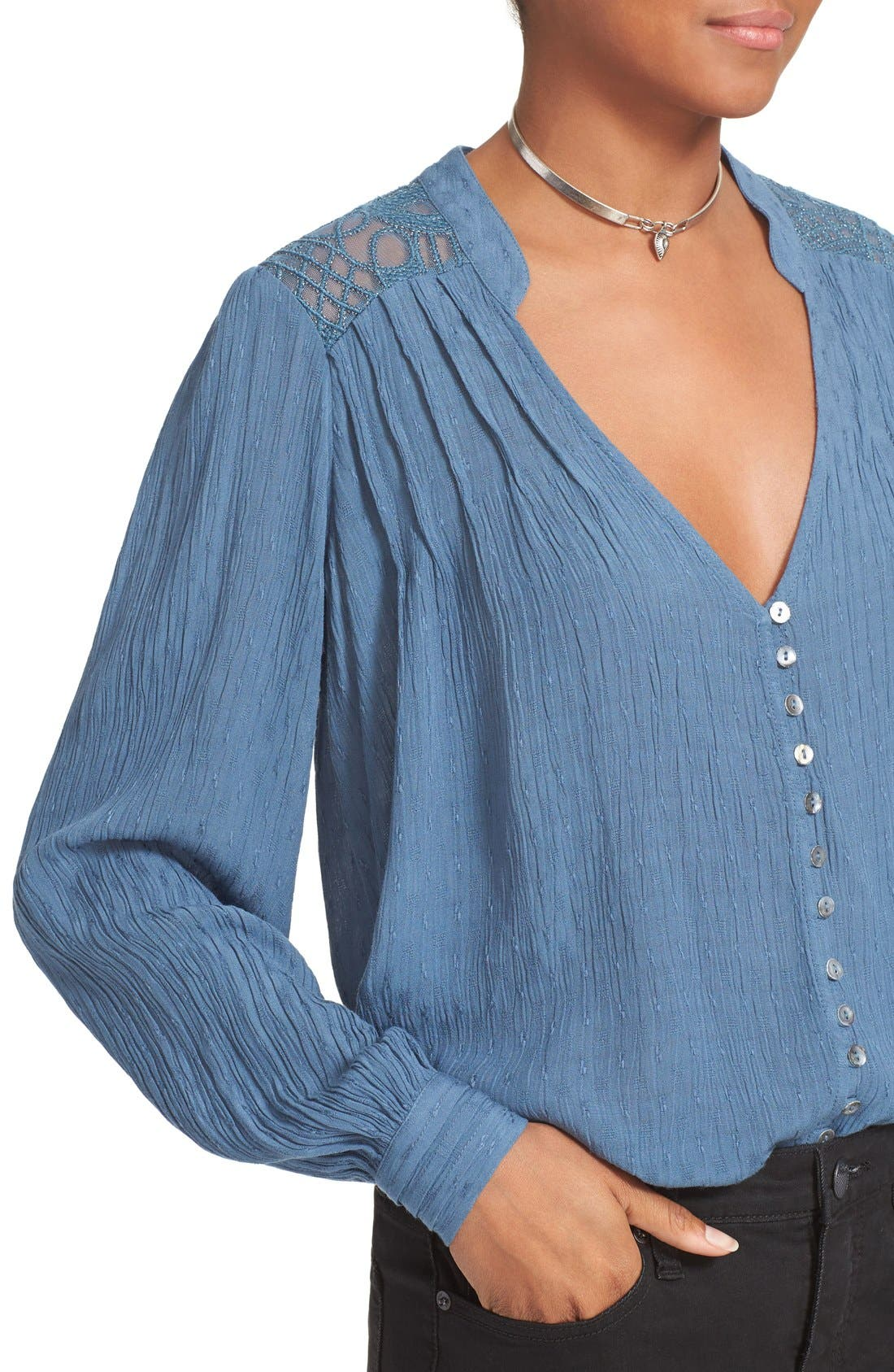 FREE PEOPLE, Canyon Rose Embroidered Yoke Blouse, Alternate thumbnail 6, color, 400
