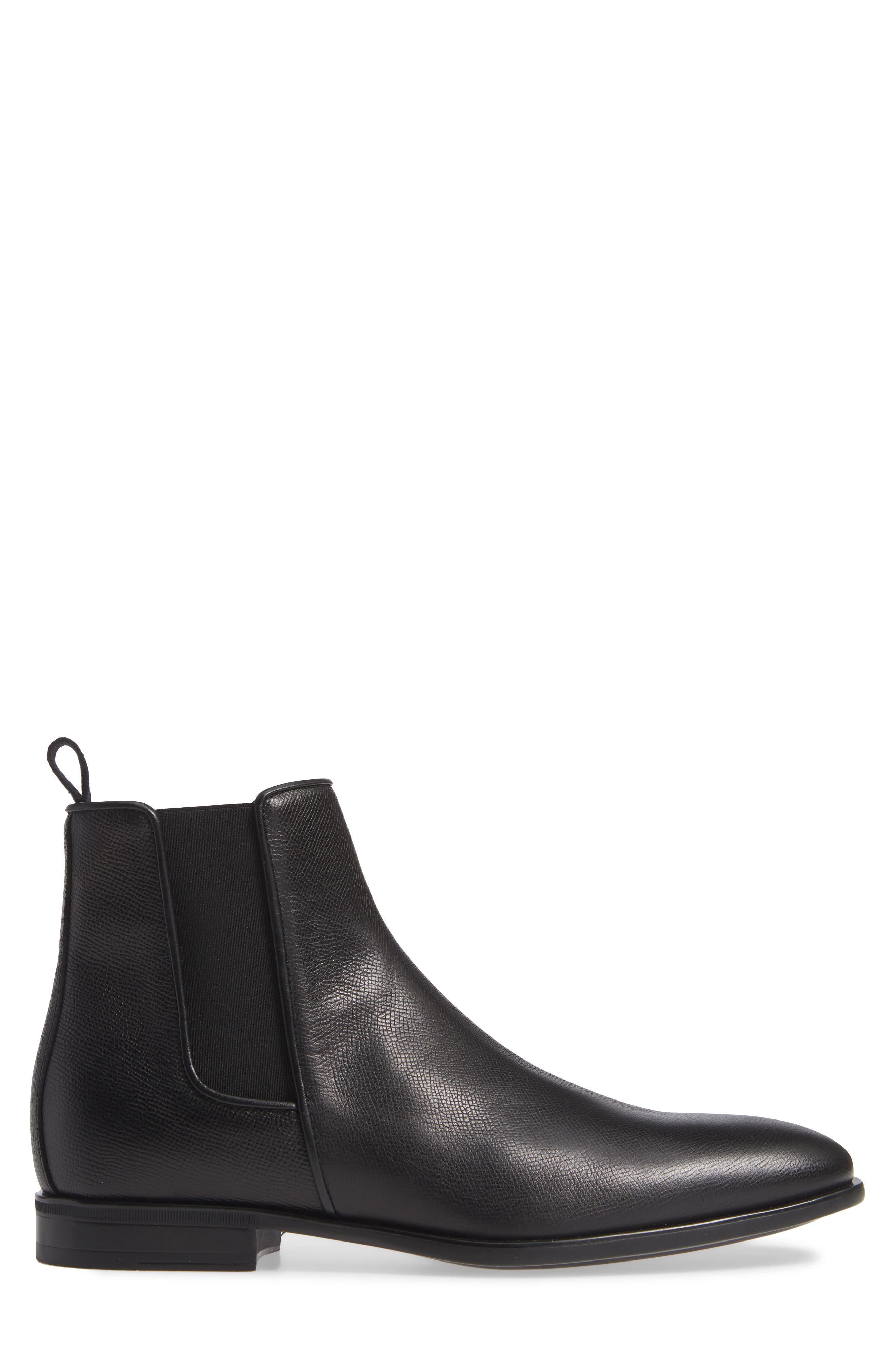 AQUATALIA, 'Adrian' Water Resistant Chelsea Boot, Alternate thumbnail 3, color, BLACK/ BLACK