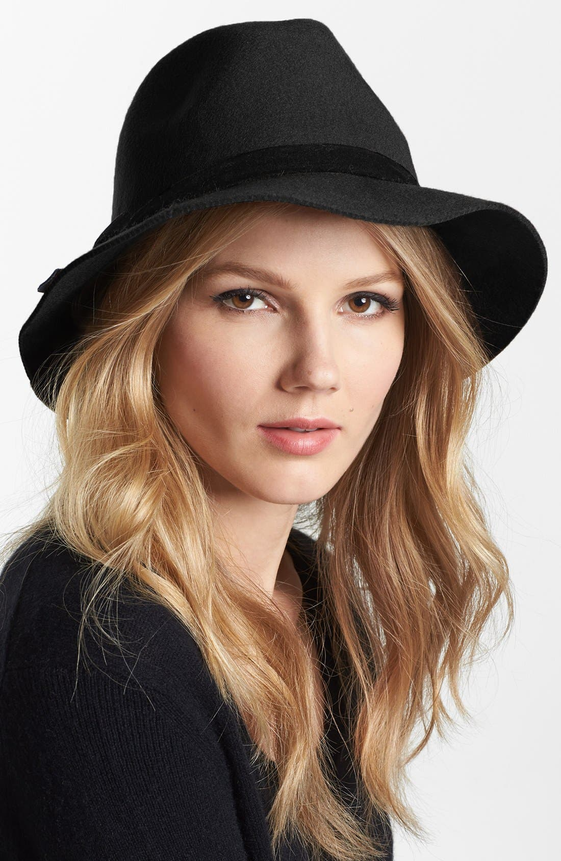 NORDSTROM, Floppy Wool Felt Fedora, Main thumbnail 1, color, 001