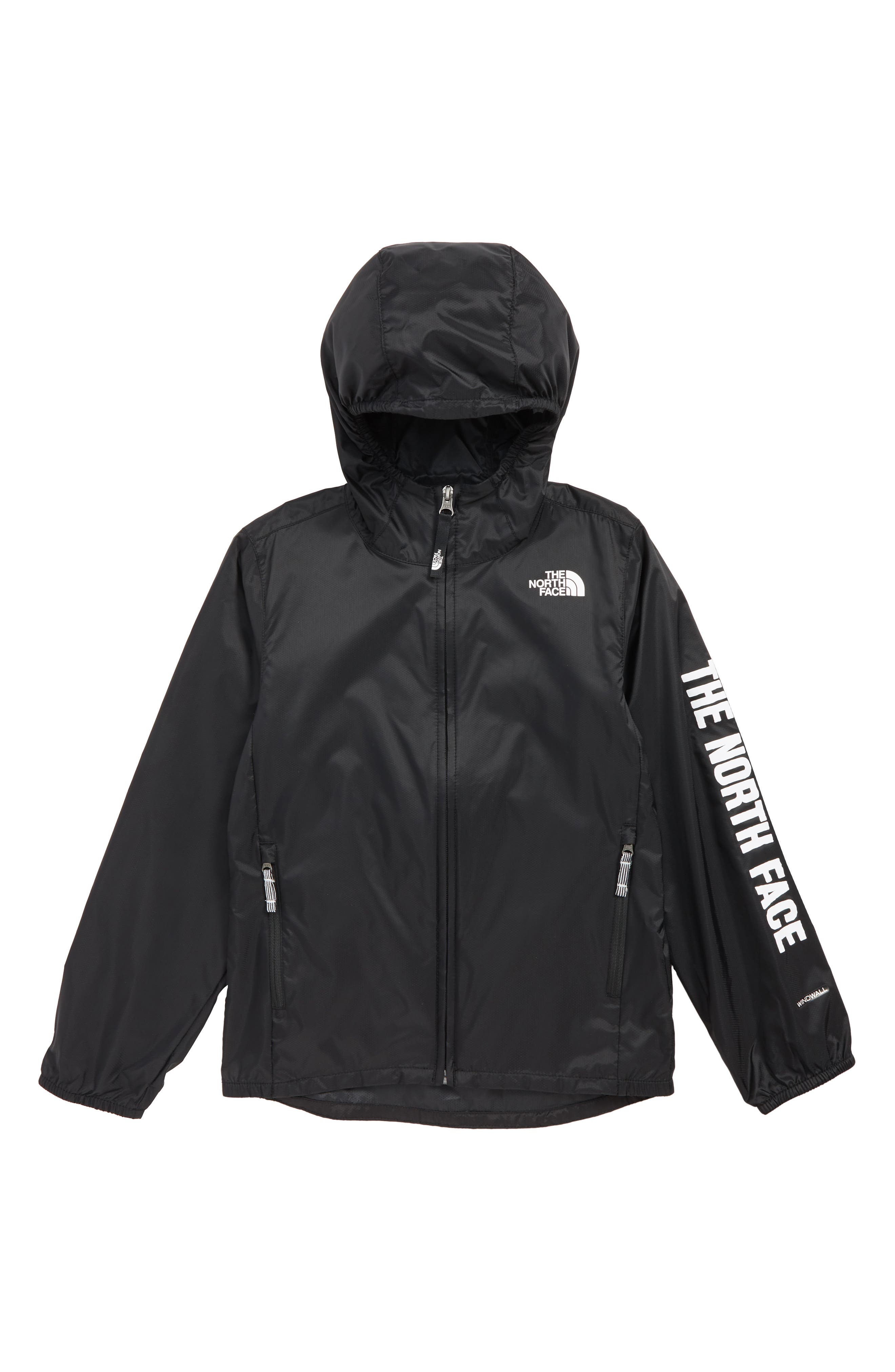 THE NORTH FACE, Flurry Water Repellent Hooded Windbreaker, Main thumbnail 1, color, TNF BLACK/ TNF BLACK