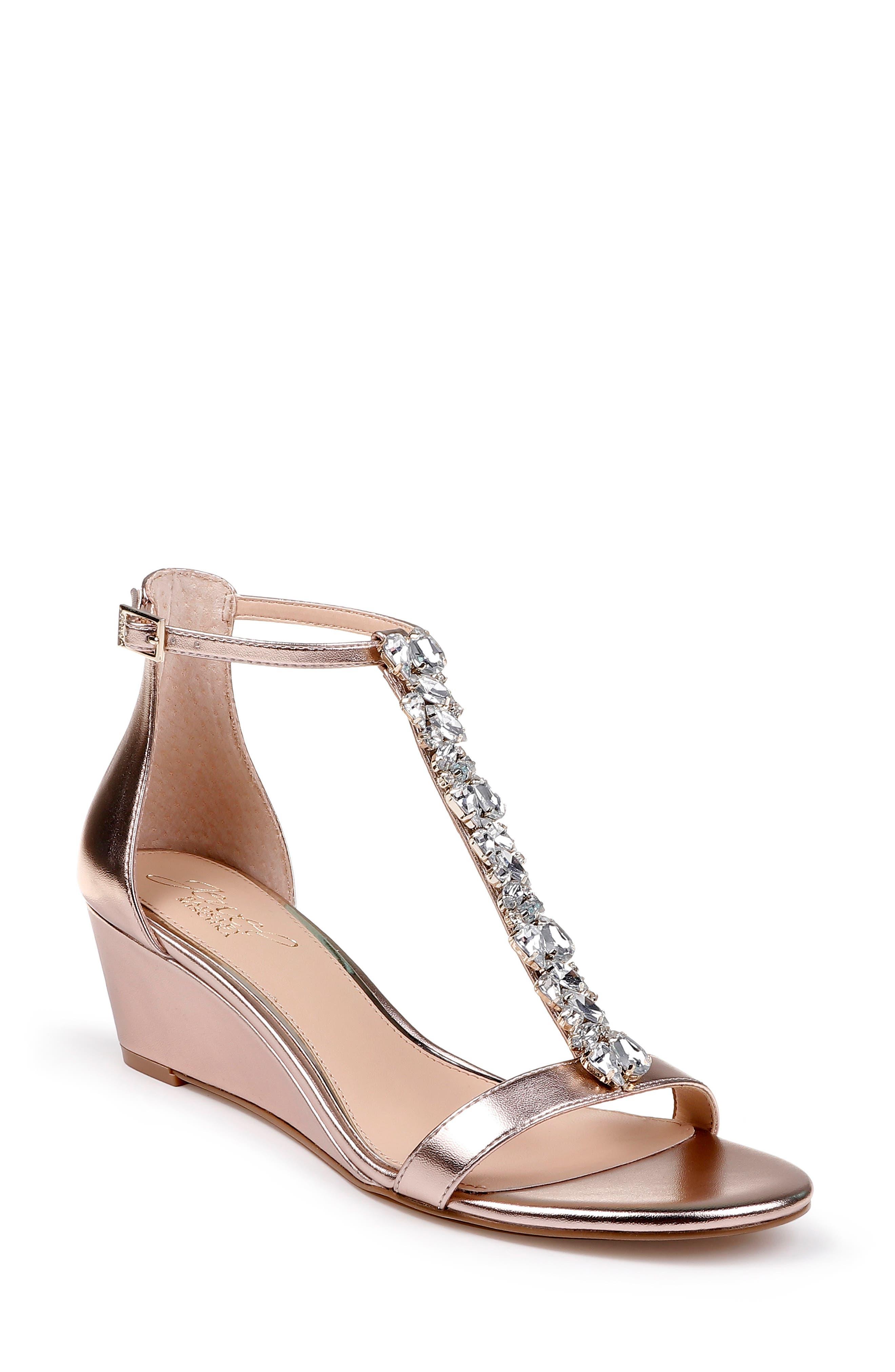 JEWEL BADGLEY MISCHKA Darrell Embellished Wedge Sandal, Main, color, ROSE GOLD NAPPA