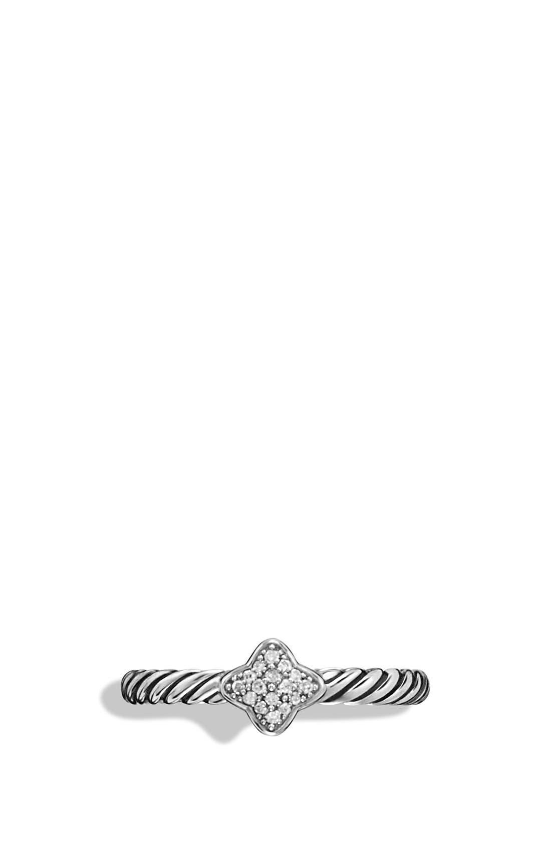 DAVID YURMAN, 'Cable Collectibles - Quatrefoil' Ring with Diamonds, Alternate thumbnail 2, color, DIAMOND