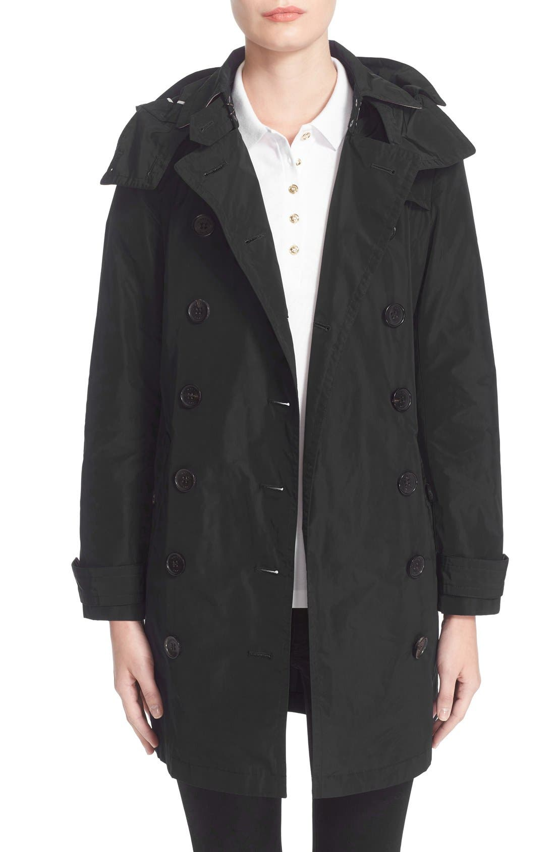 BURBERRY, Balmoral Packable Trench, Alternate thumbnail 9, color, 001