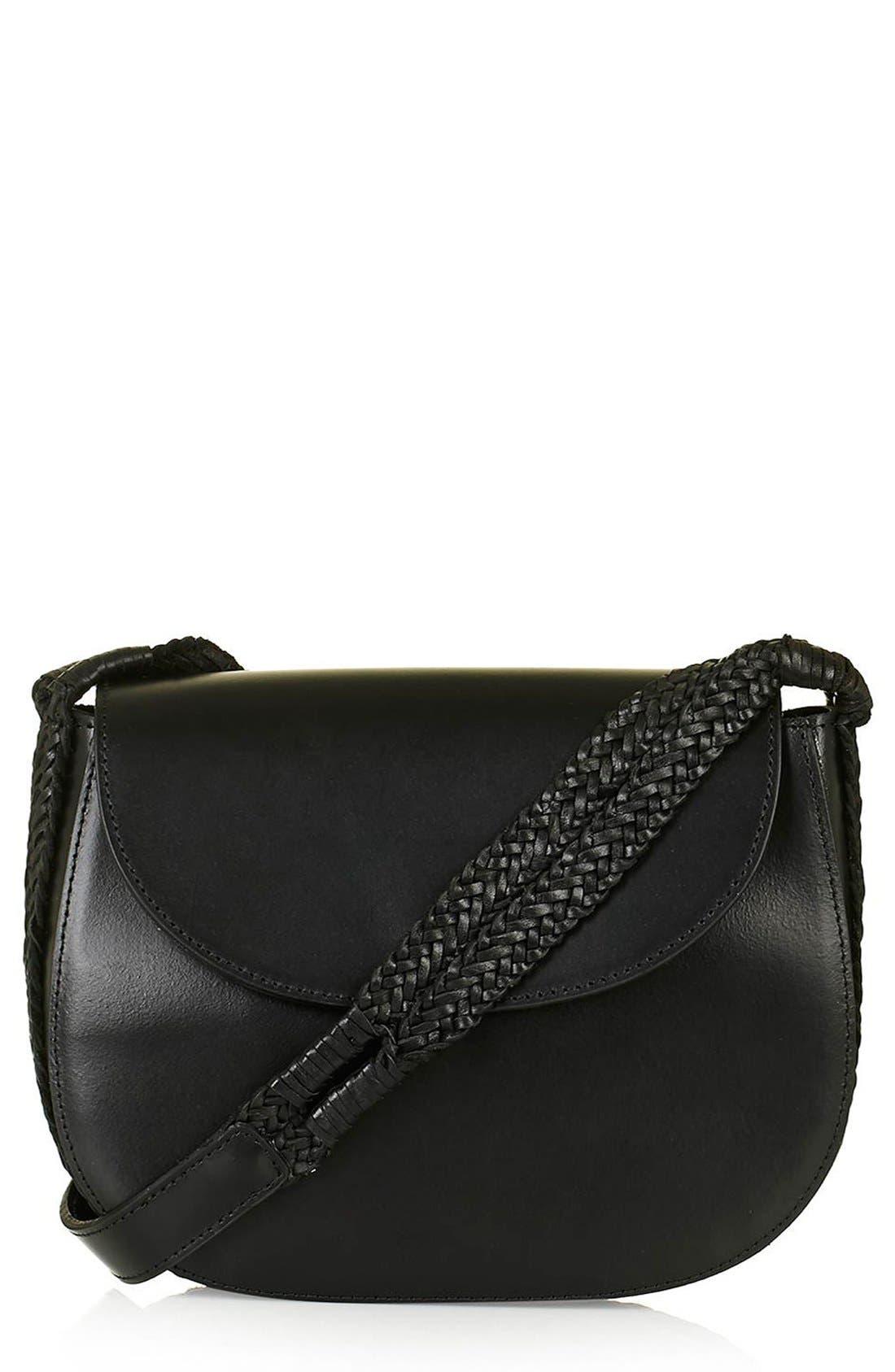 TOPSHOP, Woven Strap Leather Saddle Bag, Main thumbnail 1, color, 001