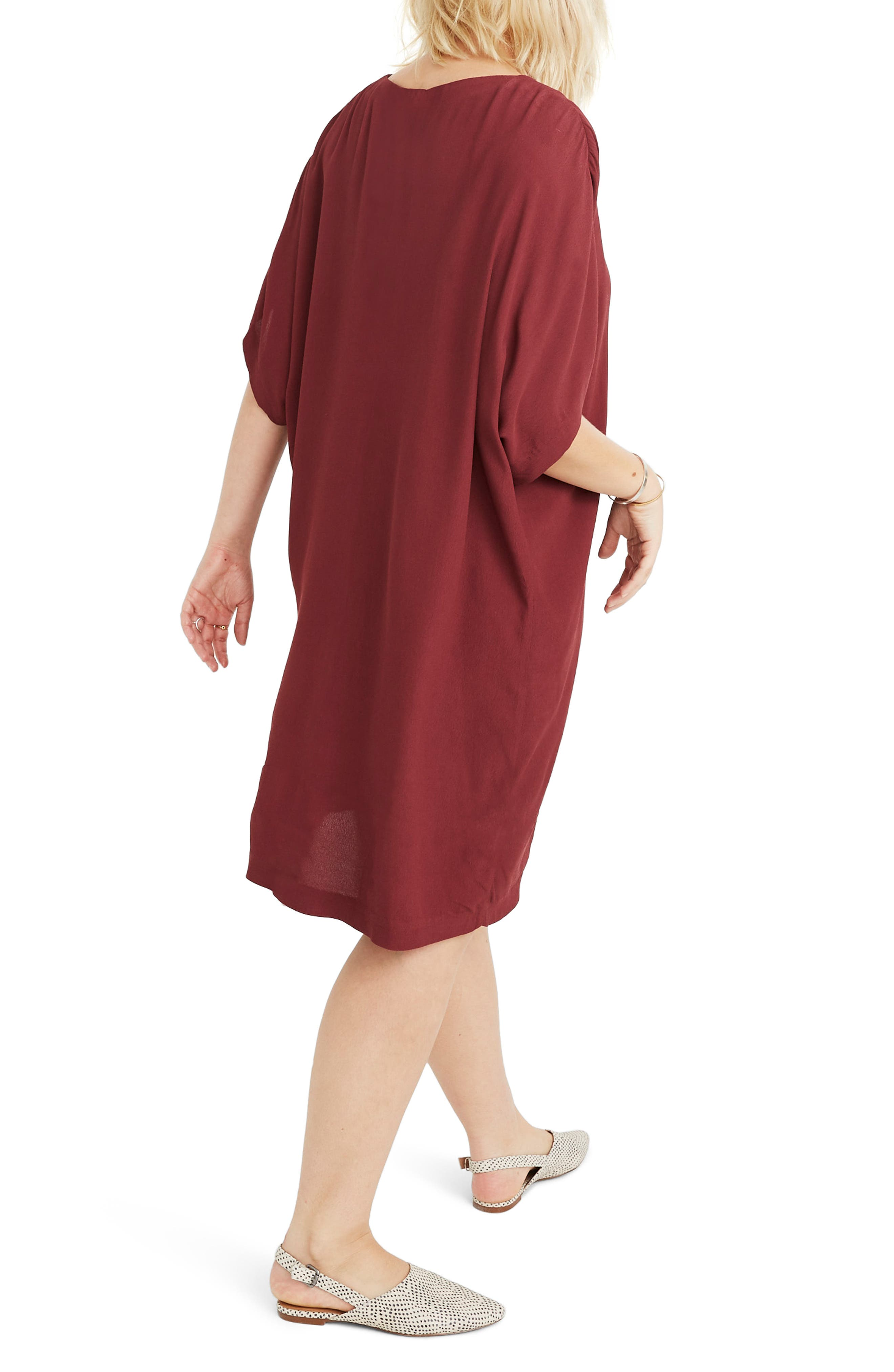 MADEWELL, Button Front Easy Dress, Alternate thumbnail 8, color, RICH BURGUNDY