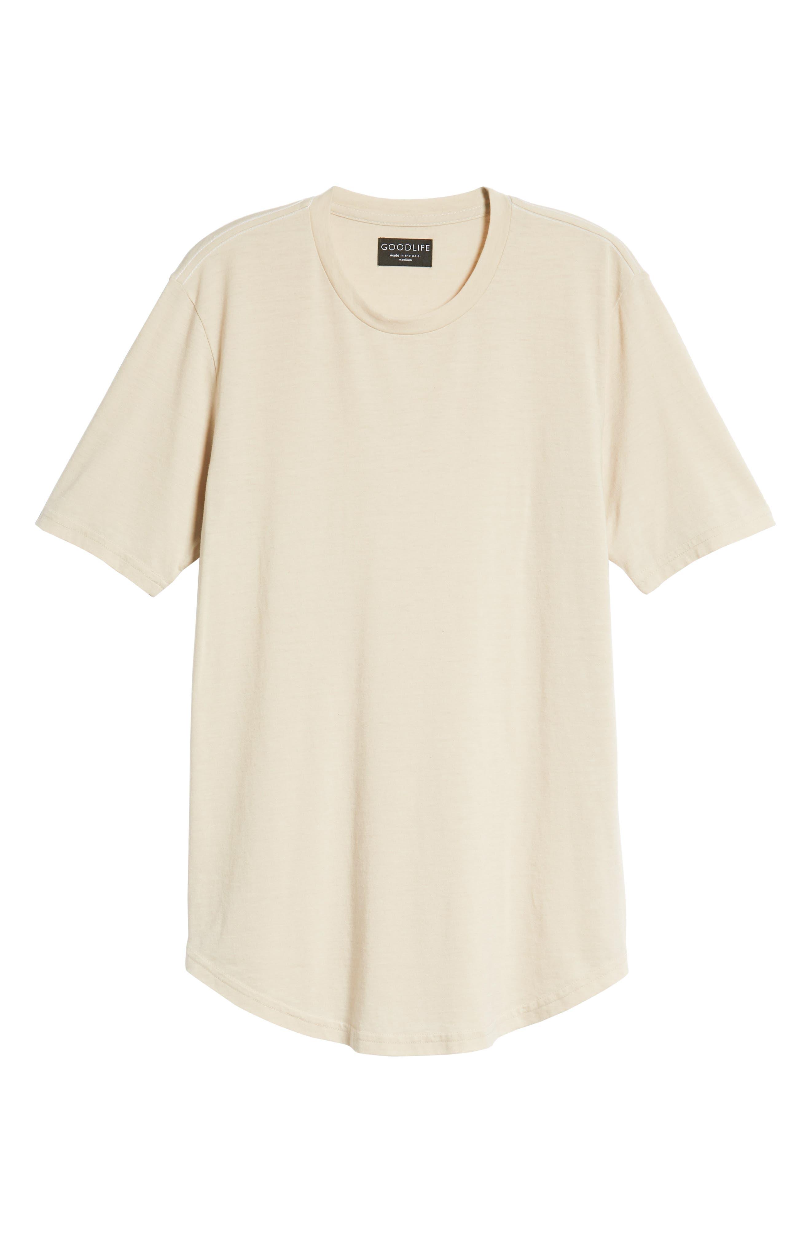 GOODLIFE, Scallop Triblend Crewneck T-Shirt, Alternate thumbnail 6, color, OYSTER