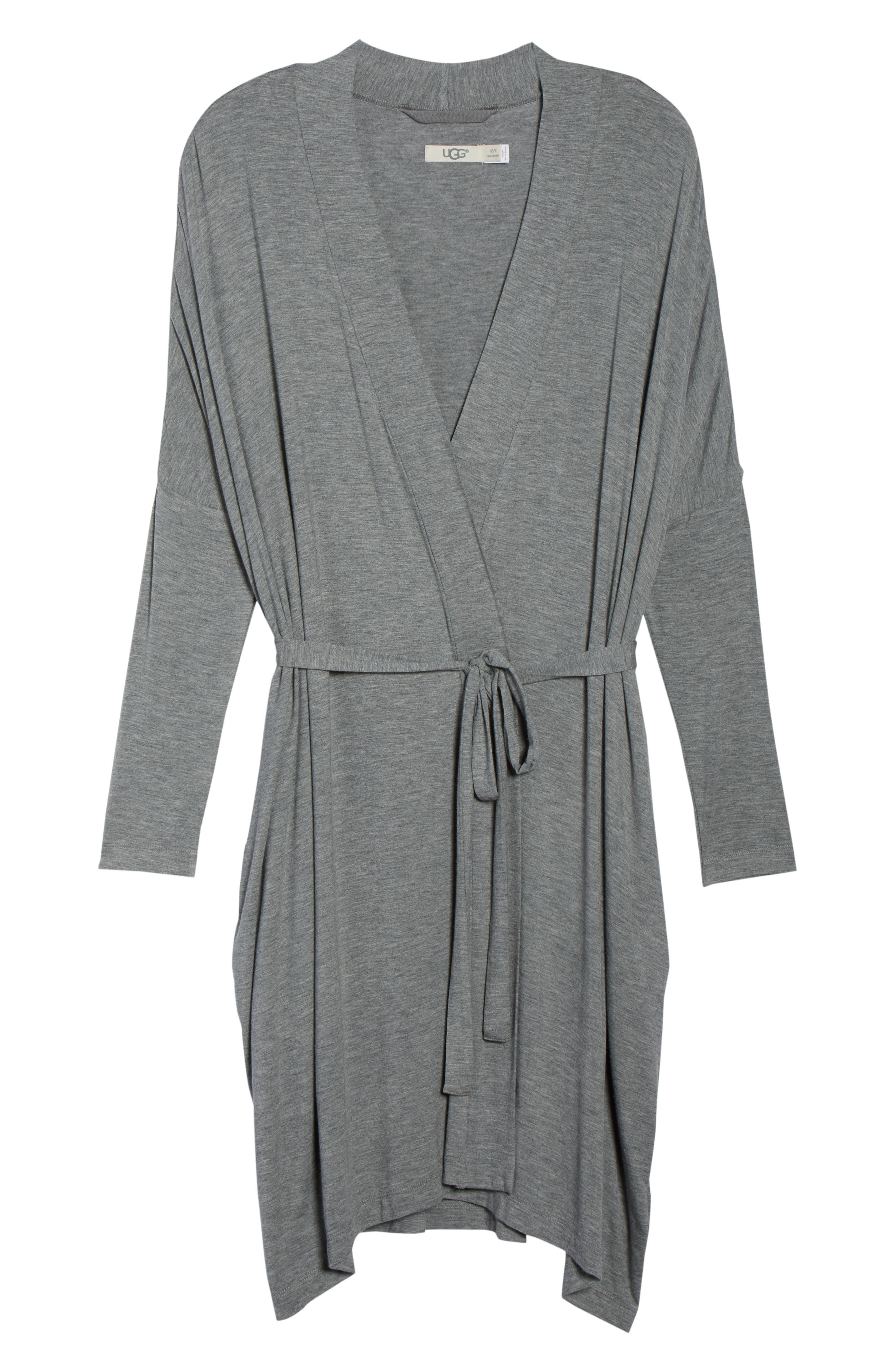 UGG<SUP>®</SUP>, Delanie Robe, Alternate thumbnail 6, color, GREY HEATHER