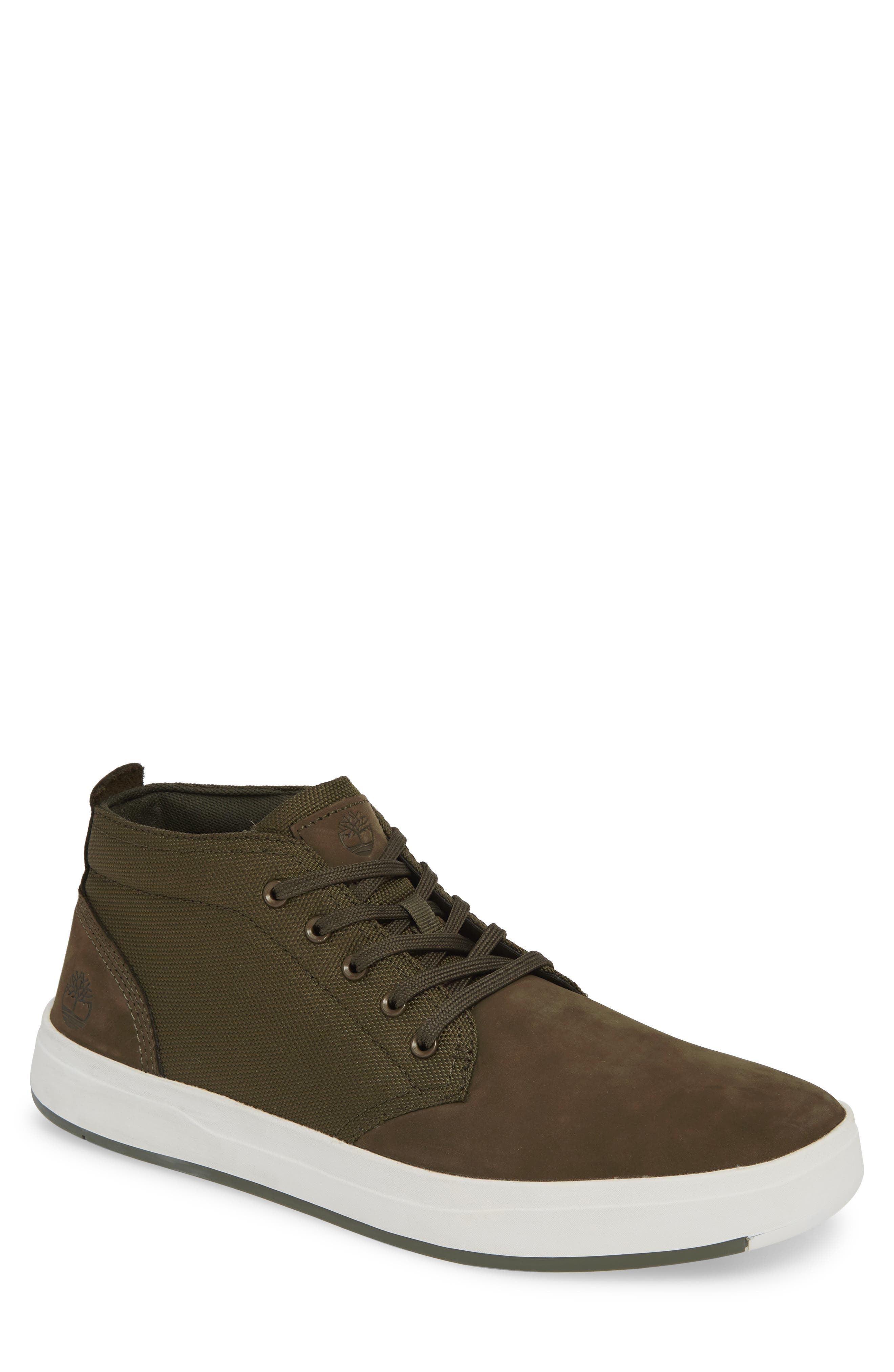 TIMBERLAND, Davis Square Mid Top Sneaker, Main thumbnail 1, color, DARK GREEN NUBUCK
