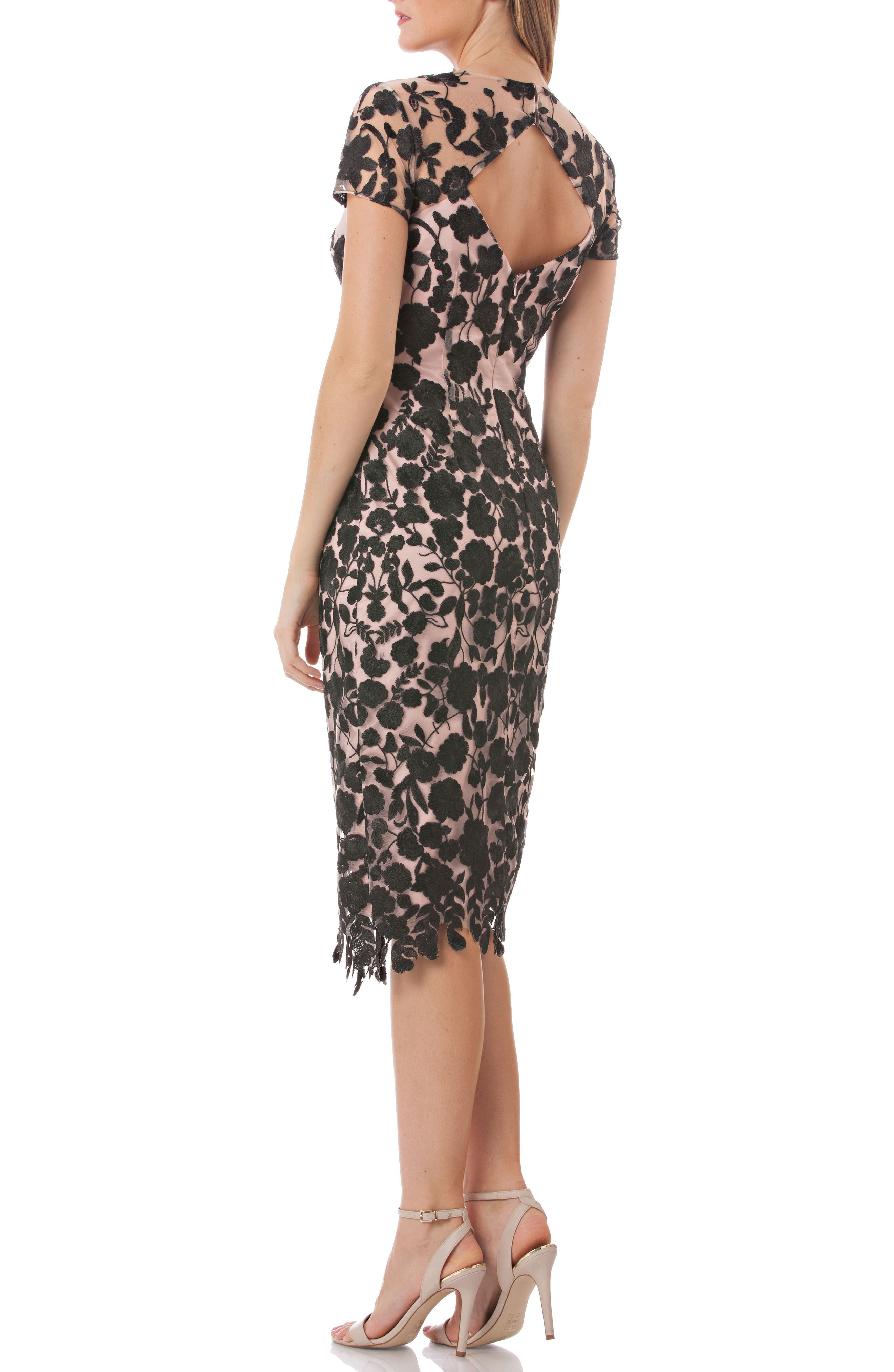 JS COLLECTIONS, Embroidered Midi Dress, Alternate thumbnail 2, color, 001