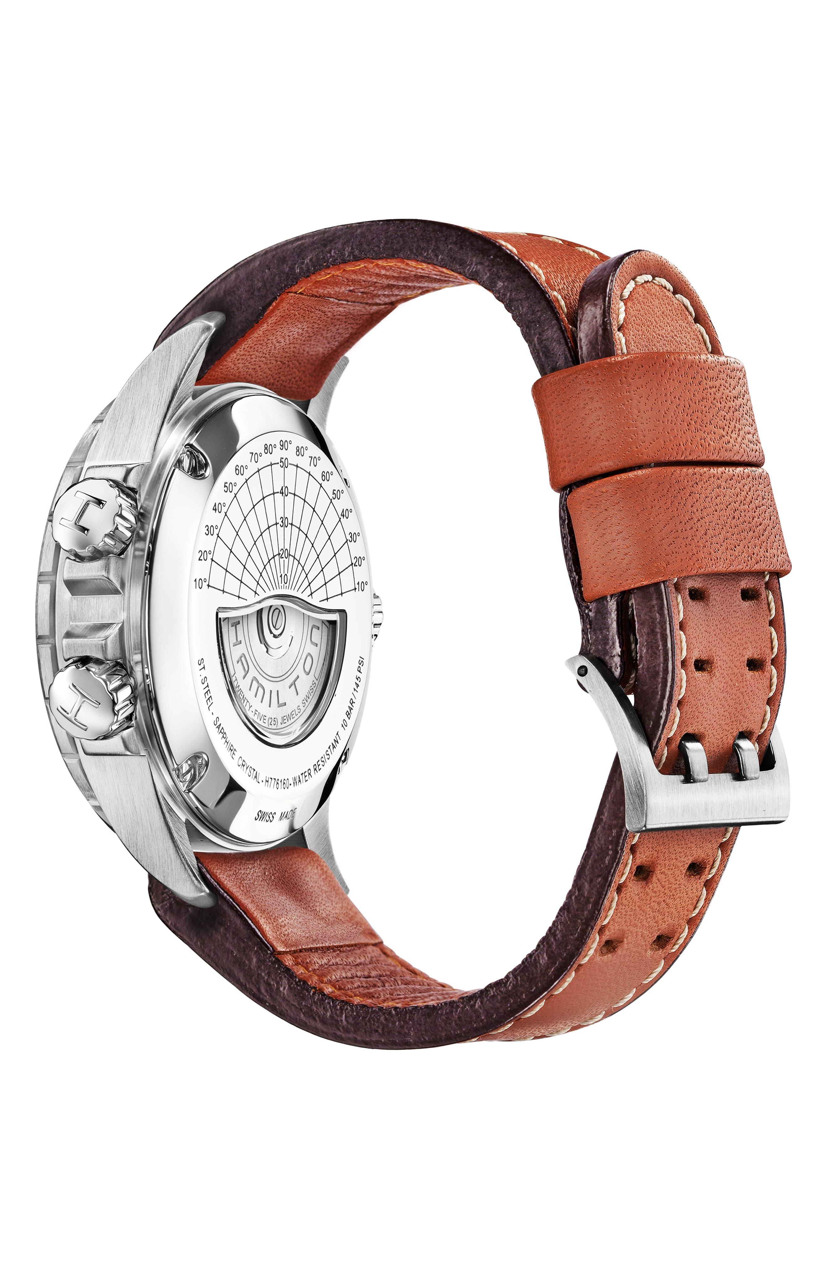 HAMILTON, Khaki Aviation X-Wind Automatic Chronograph Leather Strap Watch, 44mm, Alternate thumbnail 2, color, BROWN/ BLACK/ SILVER