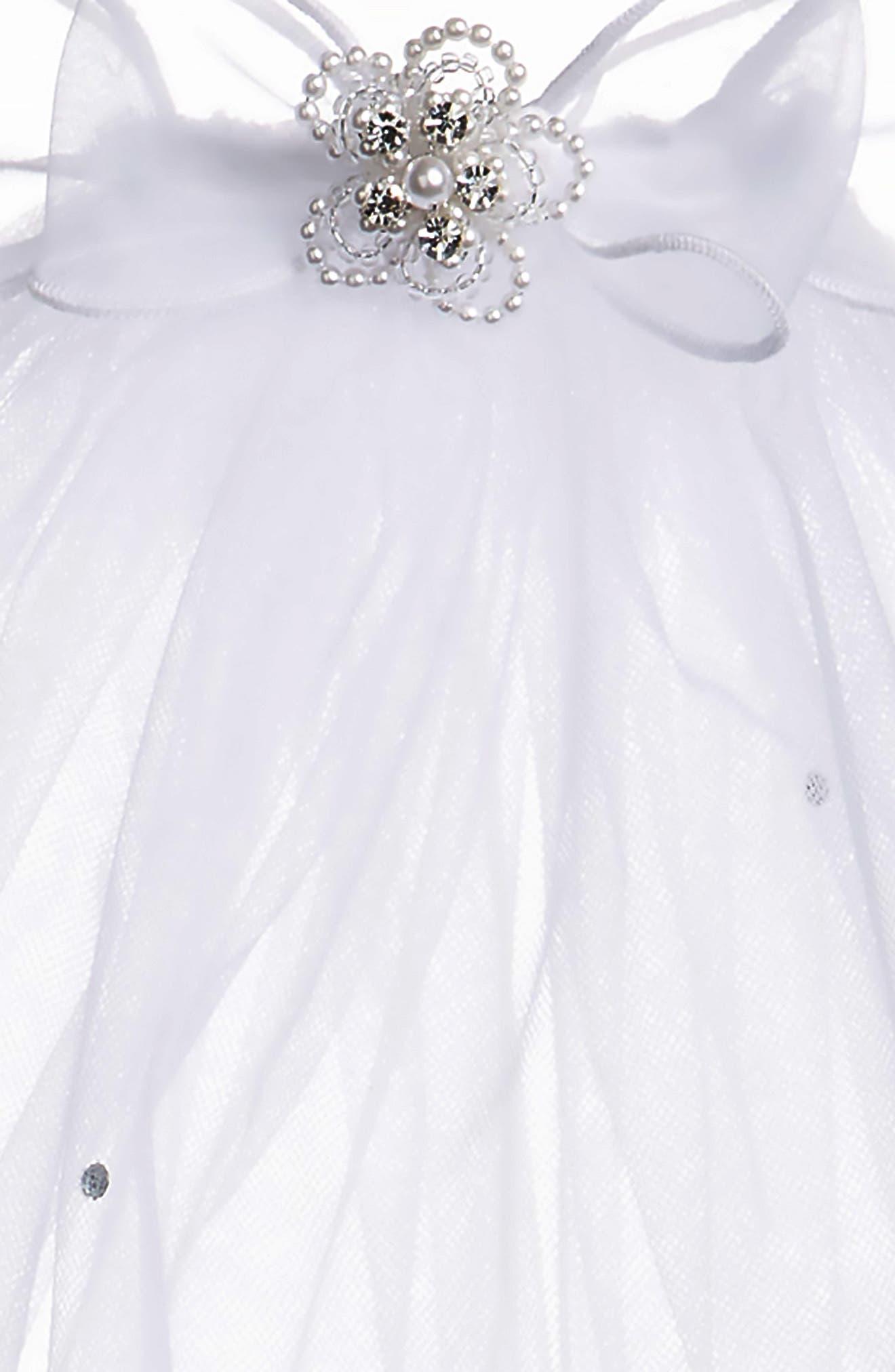 LAUREN MARIE, Beaded Bow & Veil, Alternate thumbnail 5, color, WHITE