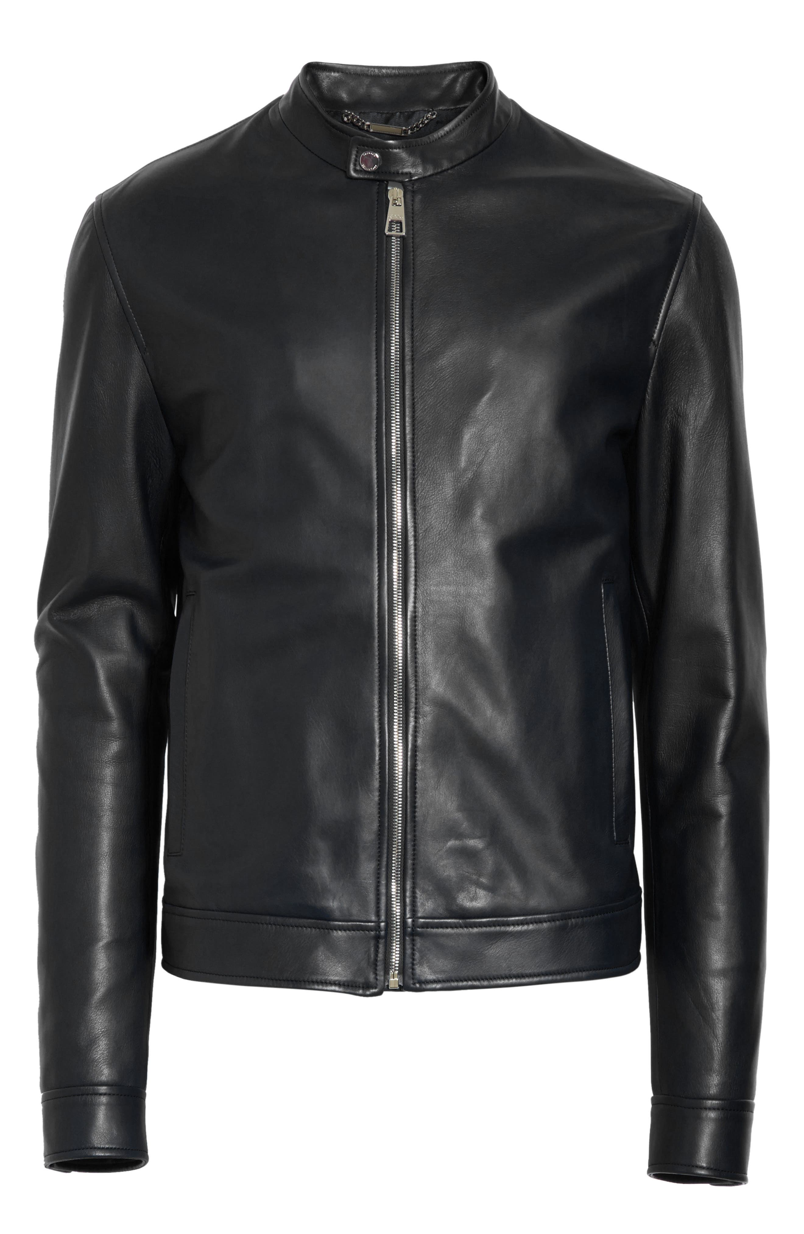 VERSACE COLLECTION, Café Racer Leather Jacket, Alternate thumbnail 5, color, 130