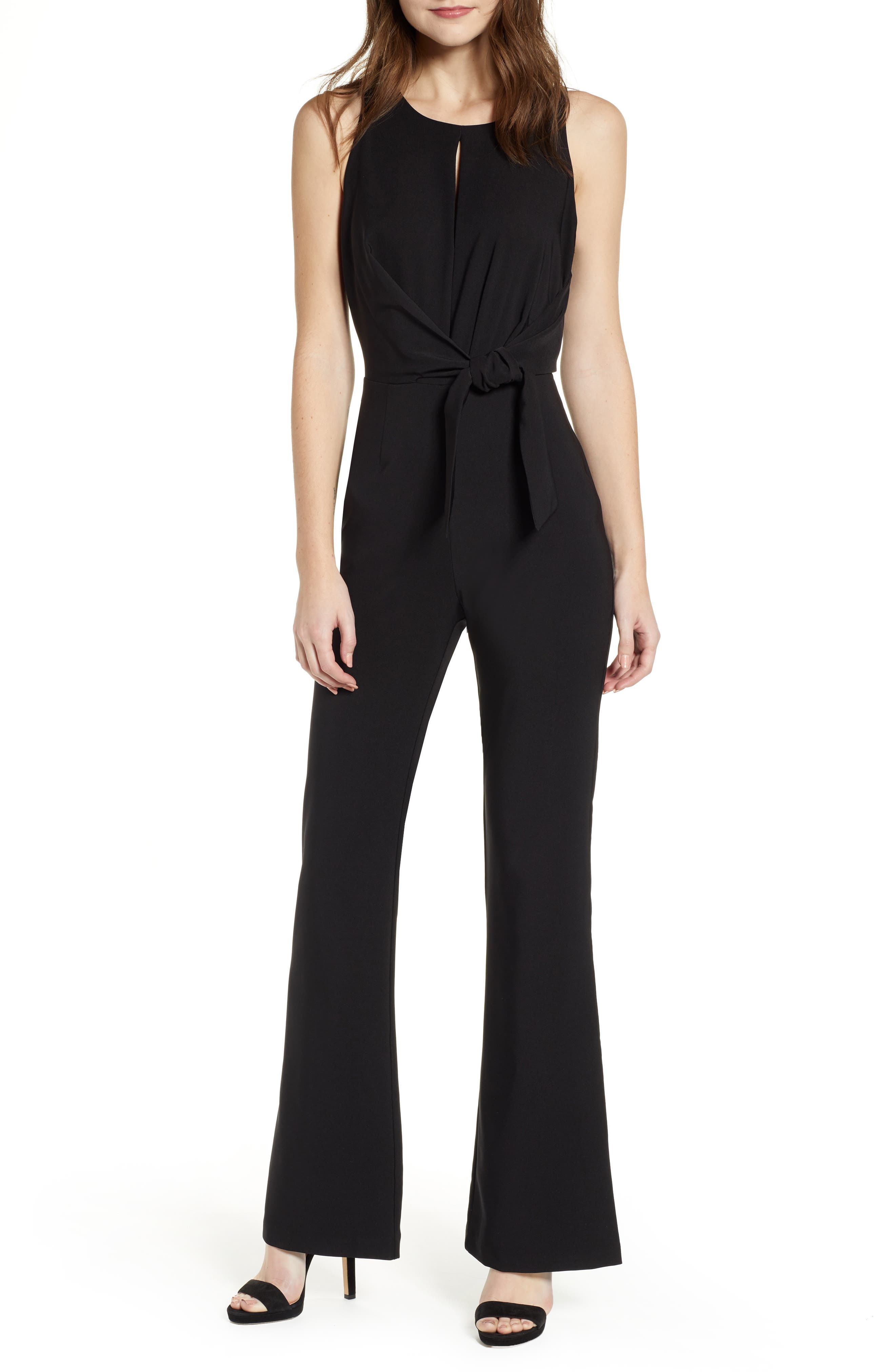 SOCIALITE Tie Front Jumpsuit, Main, color, BLACK