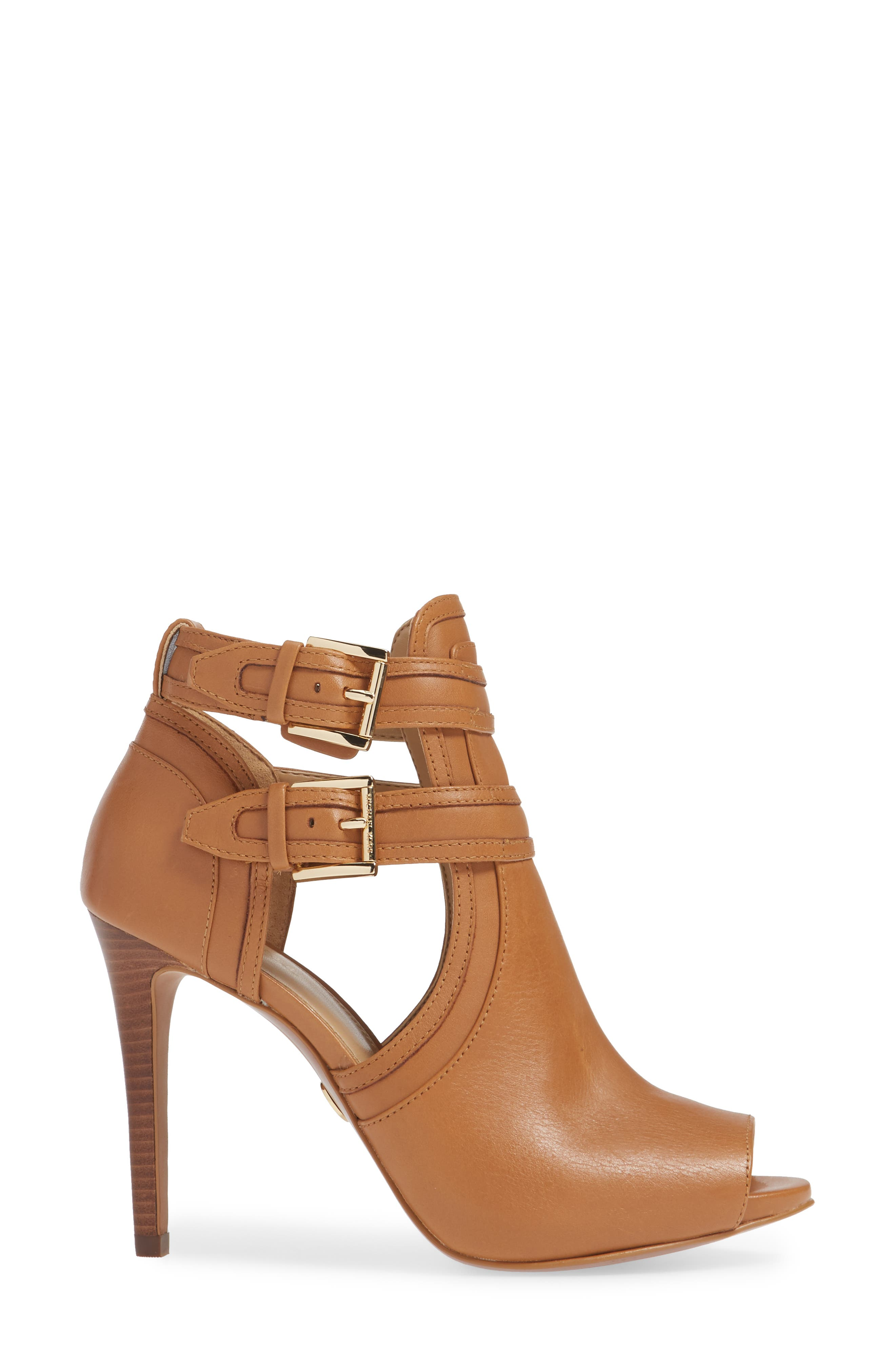 MICHAEL MICHAEL KORS, Blaze Peep Toe Buckle Bootie, Alternate thumbnail 3, color, ACORN LEATHER