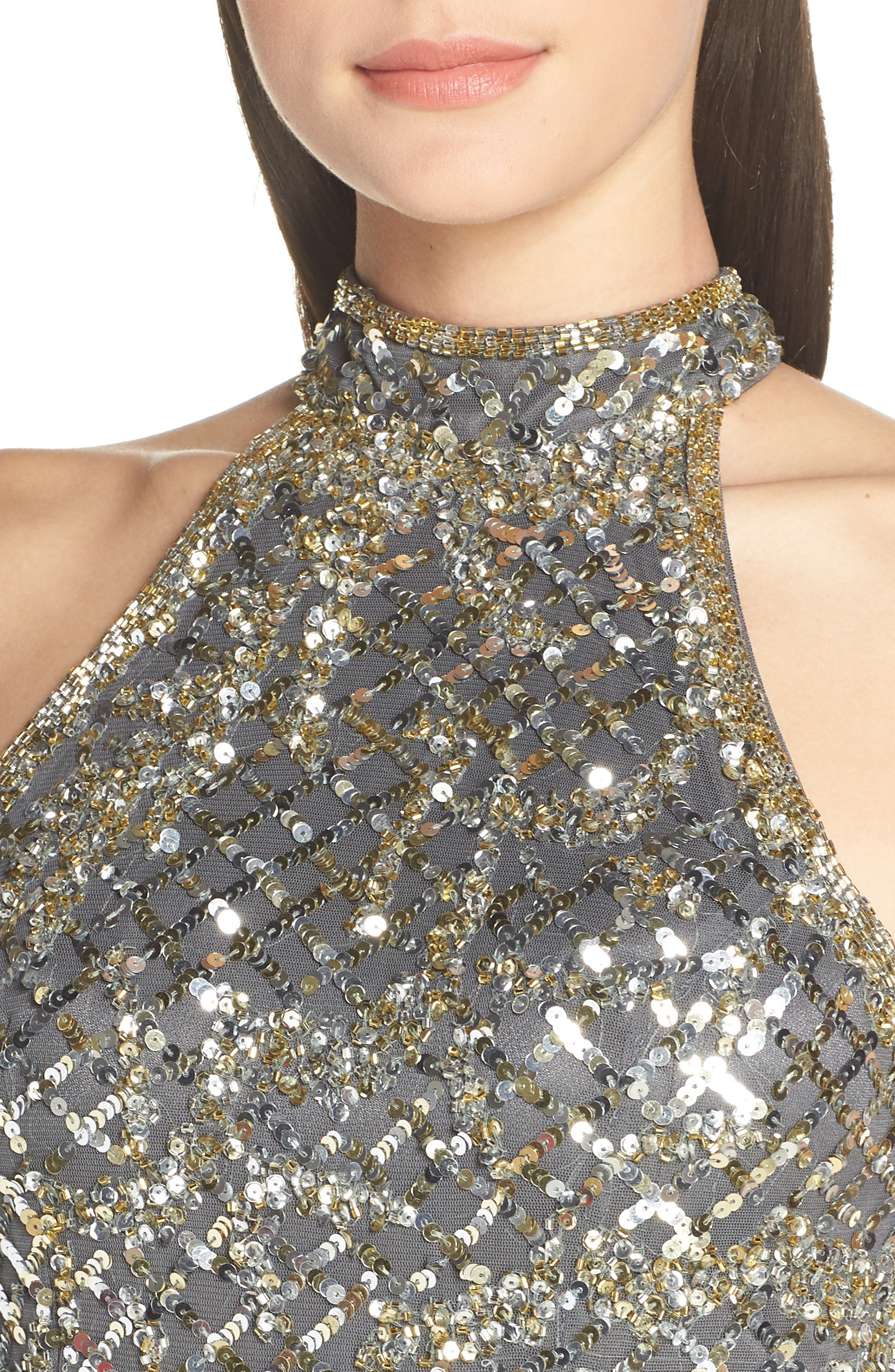 MAC DUGGAL, Beaded A-Line Halter Gown, Alternate thumbnail 5, color, PLATINUM