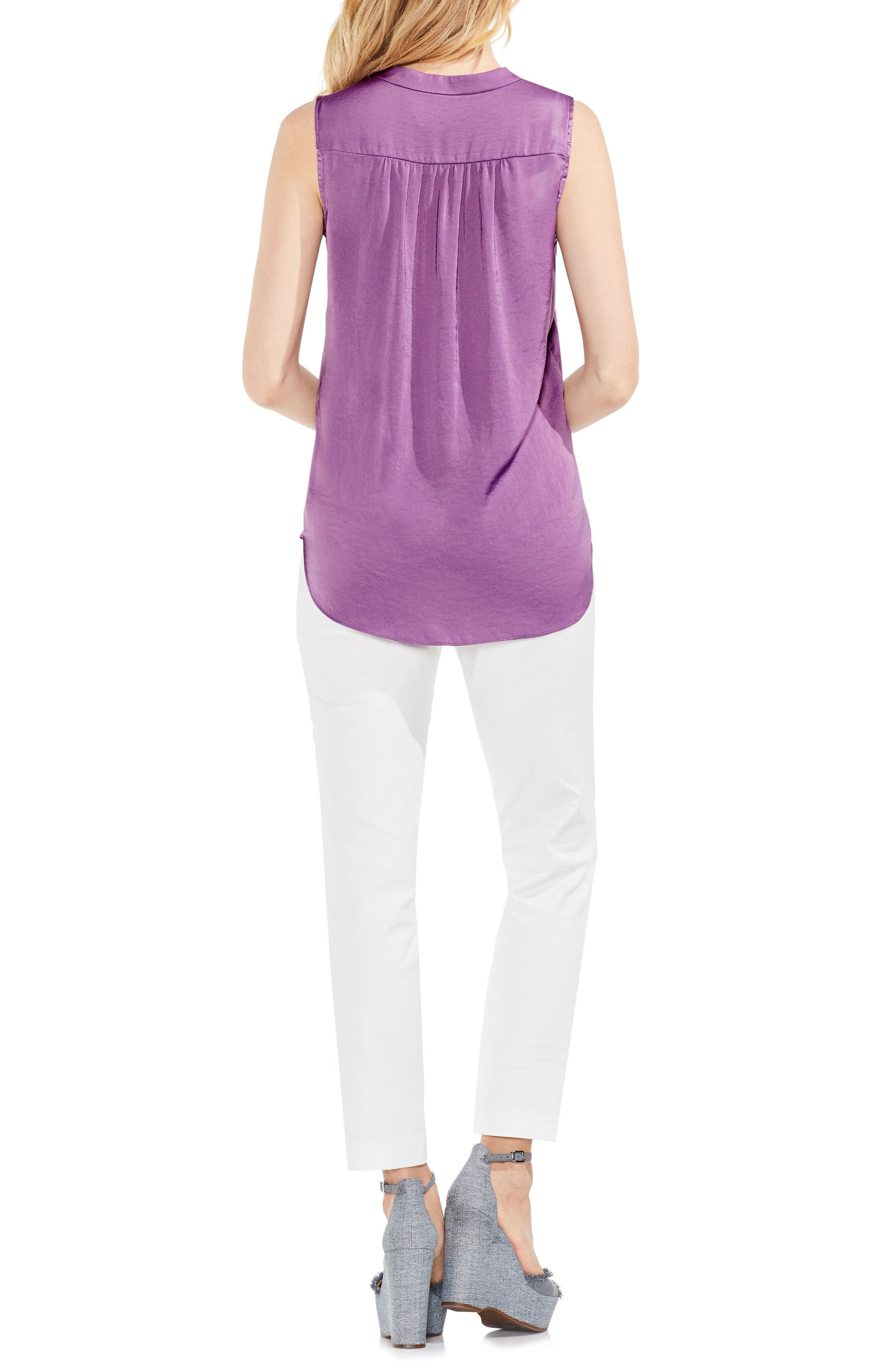 VINCE CAMUTO, Rumpled Satin Blouse, Alternate thumbnail 3, color, NEW TULIP