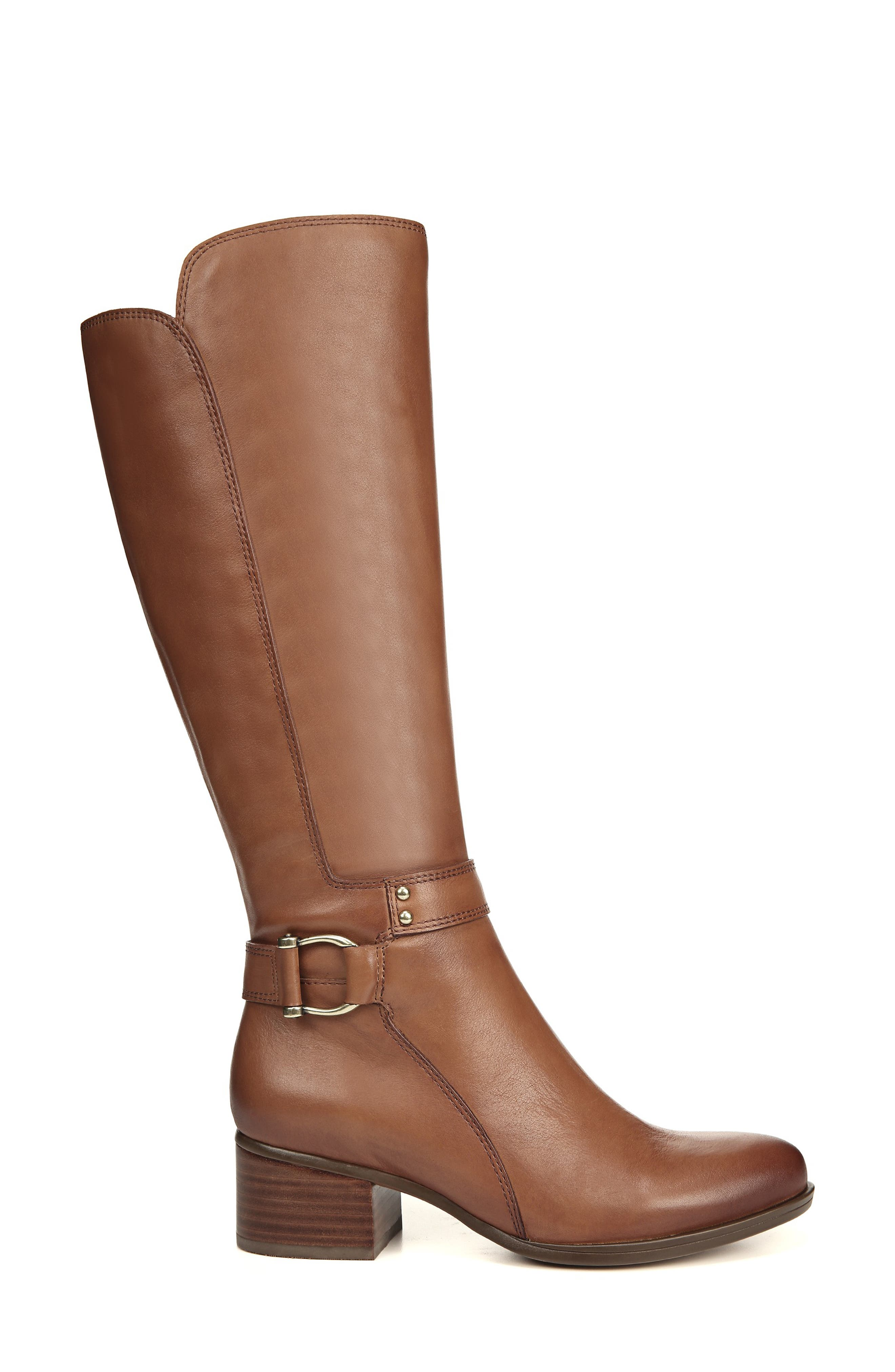 NATURALIZER, Dane Knee High Riding Boot, Alternate thumbnail 3, color, MAPLE LEATHER