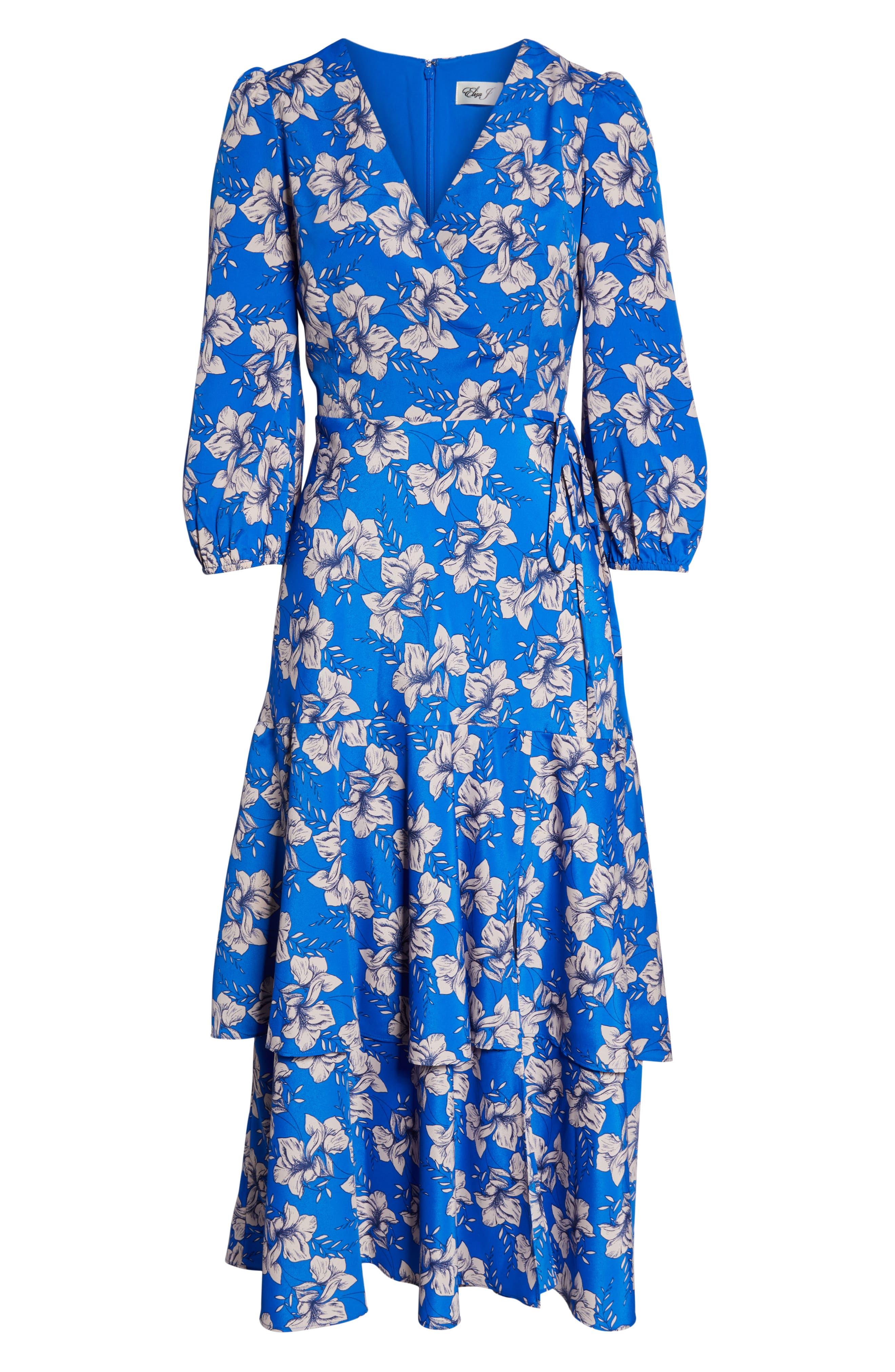 ELIZA J, Faux Wrap Maxi Dress, Alternate thumbnail 7, color, BLUE