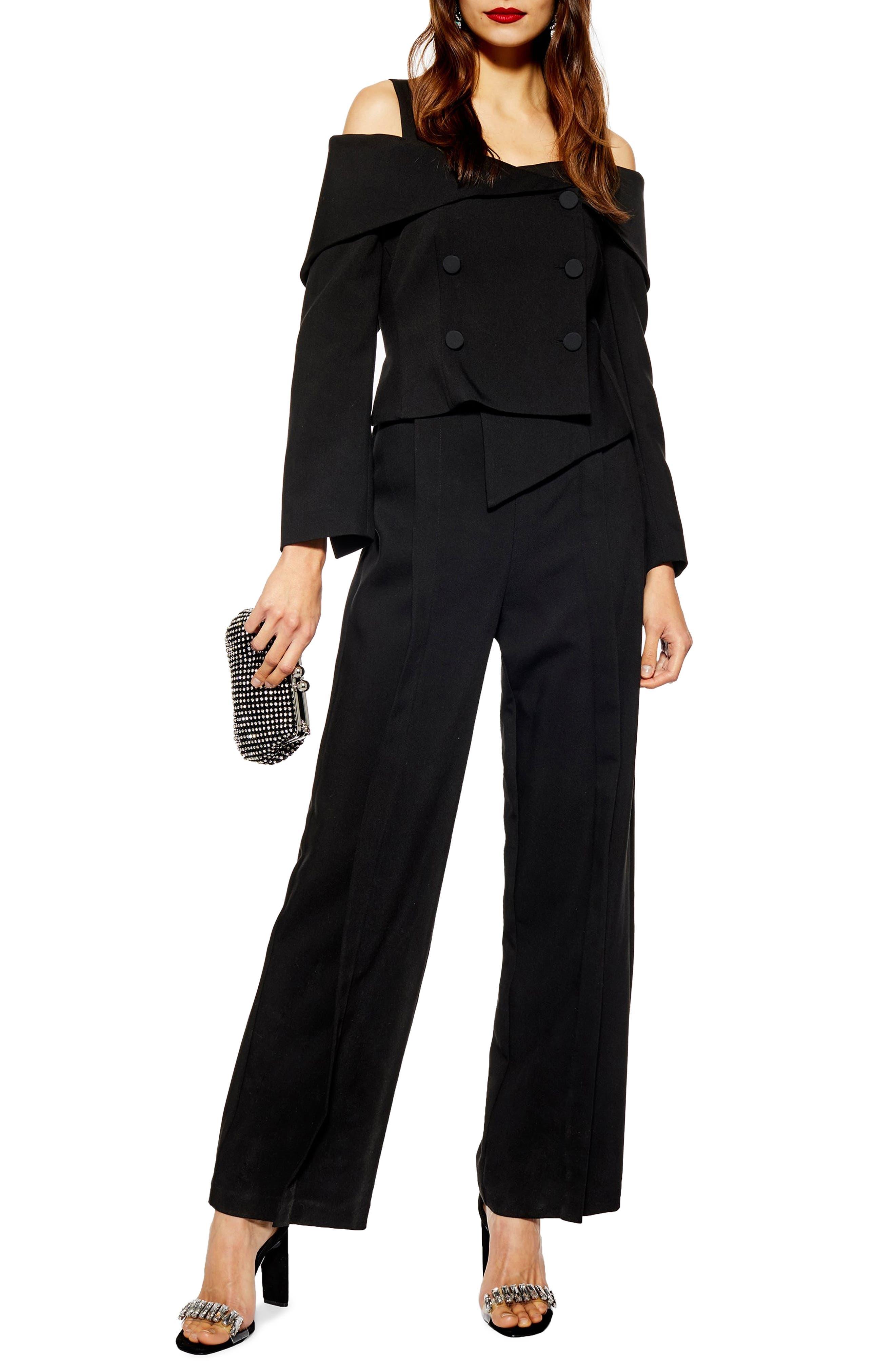 TOPSHOP Cold Shoulder Jumpsuit, Main, color, BLACK