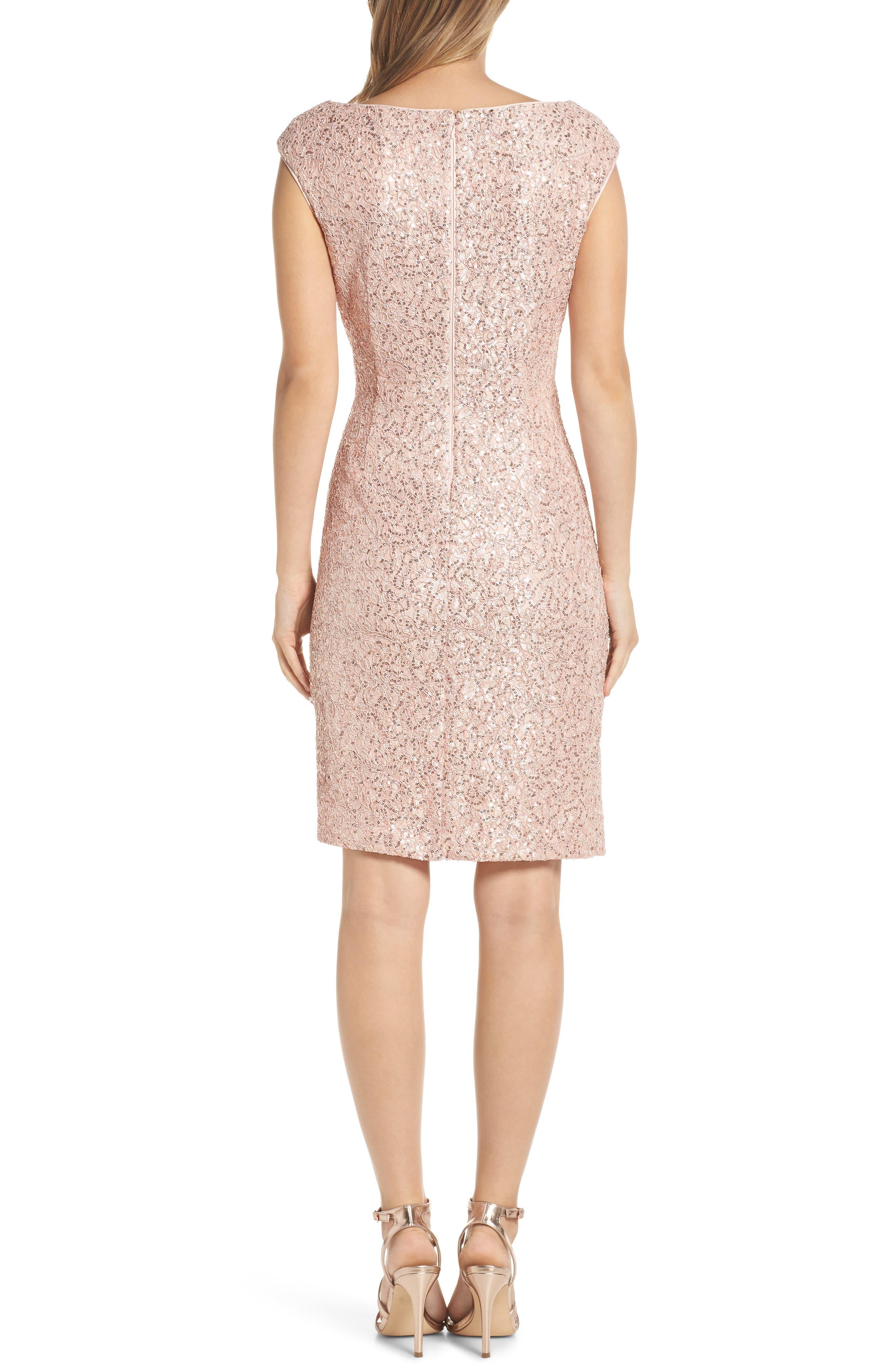 VINCE CAMUTO, Sequin Lace Sheath Dress, Alternate thumbnail 2, color, 684