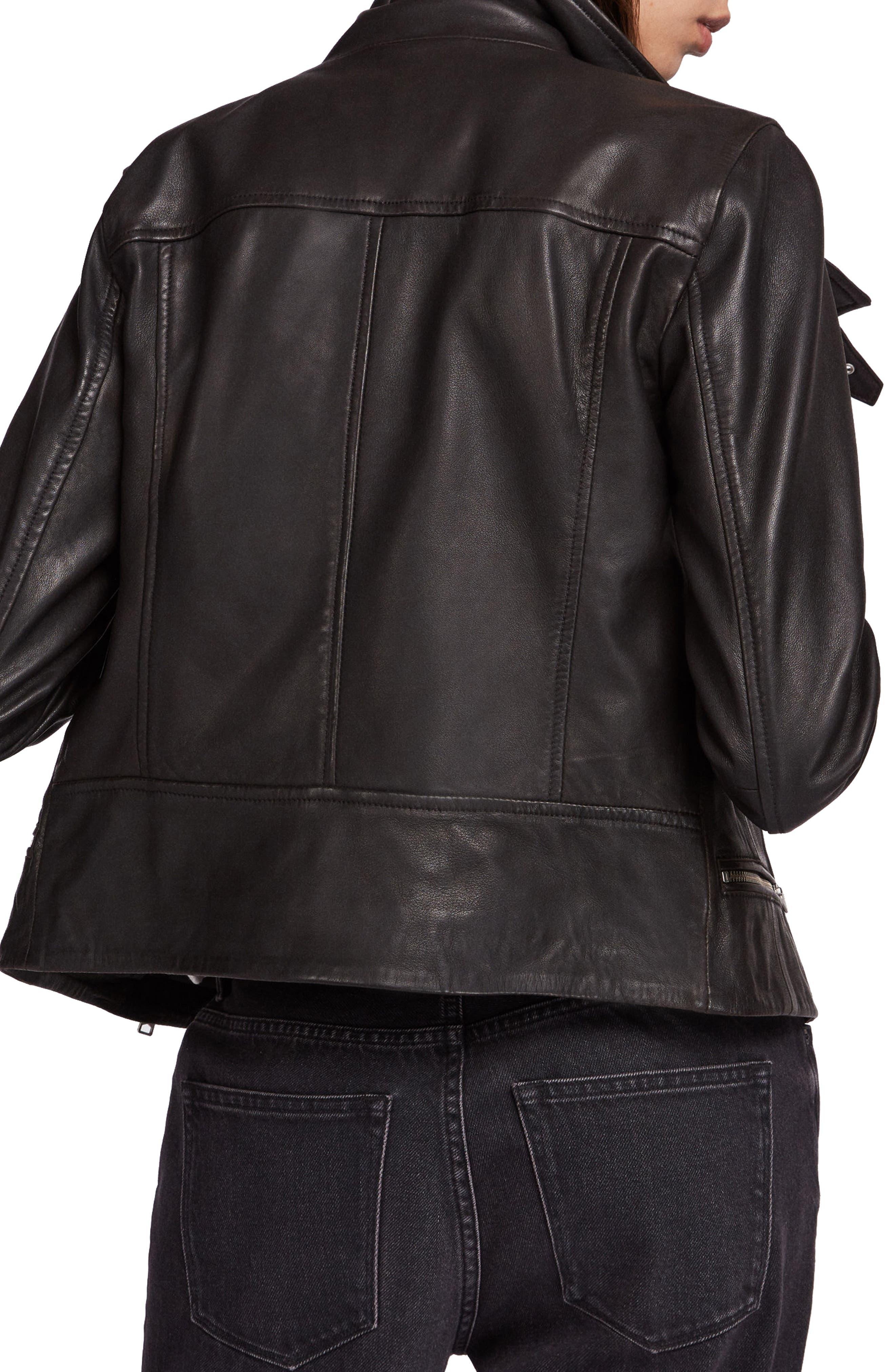ALLSAINTS, Bales Leather Biker Jacket, Alternate thumbnail 2, color, BLACK