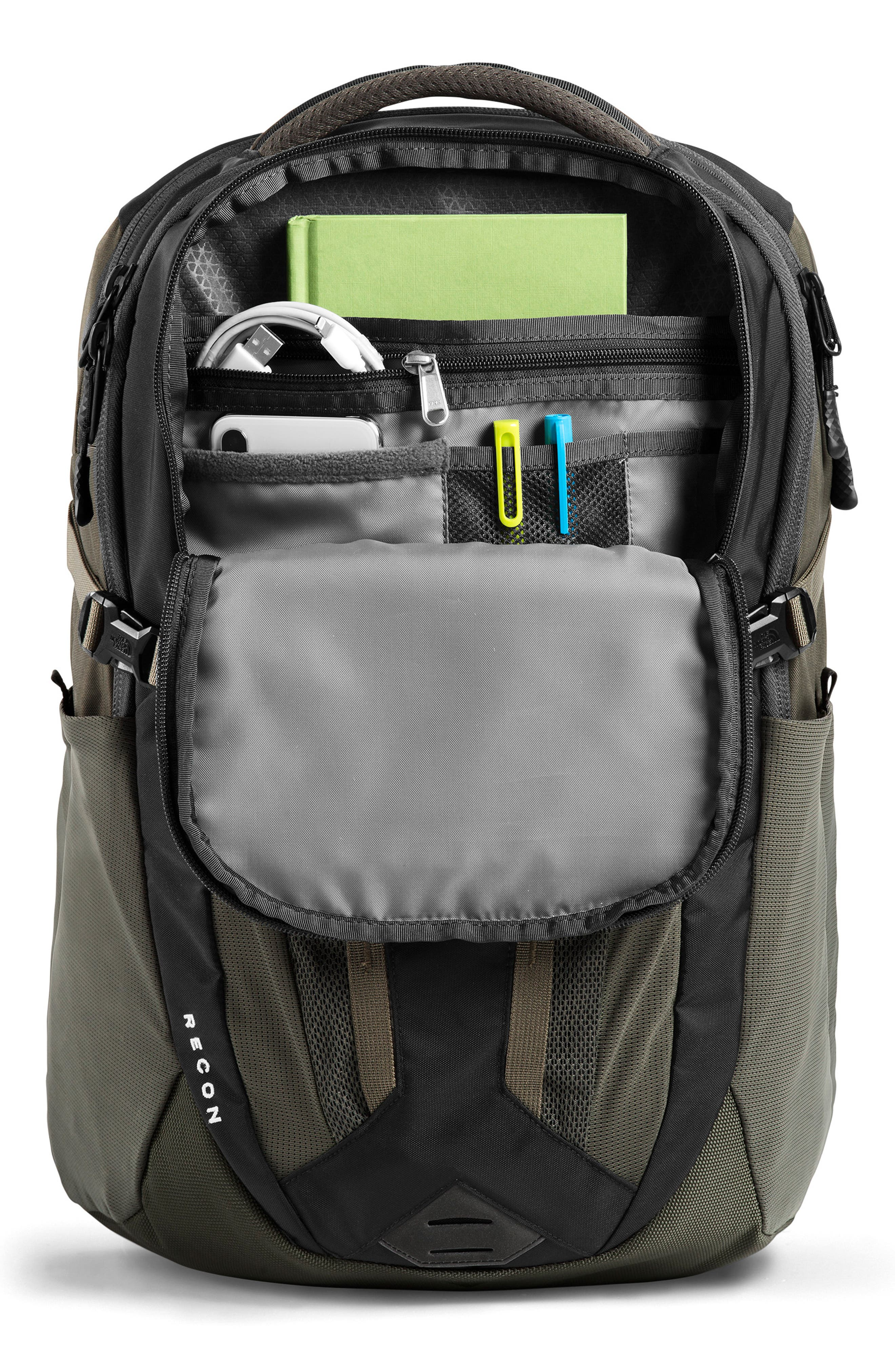 THE NORTH FACE, Recon Backpack, Alternate thumbnail 4, color, TNF BLACK/ NEW TAUPE GREEN