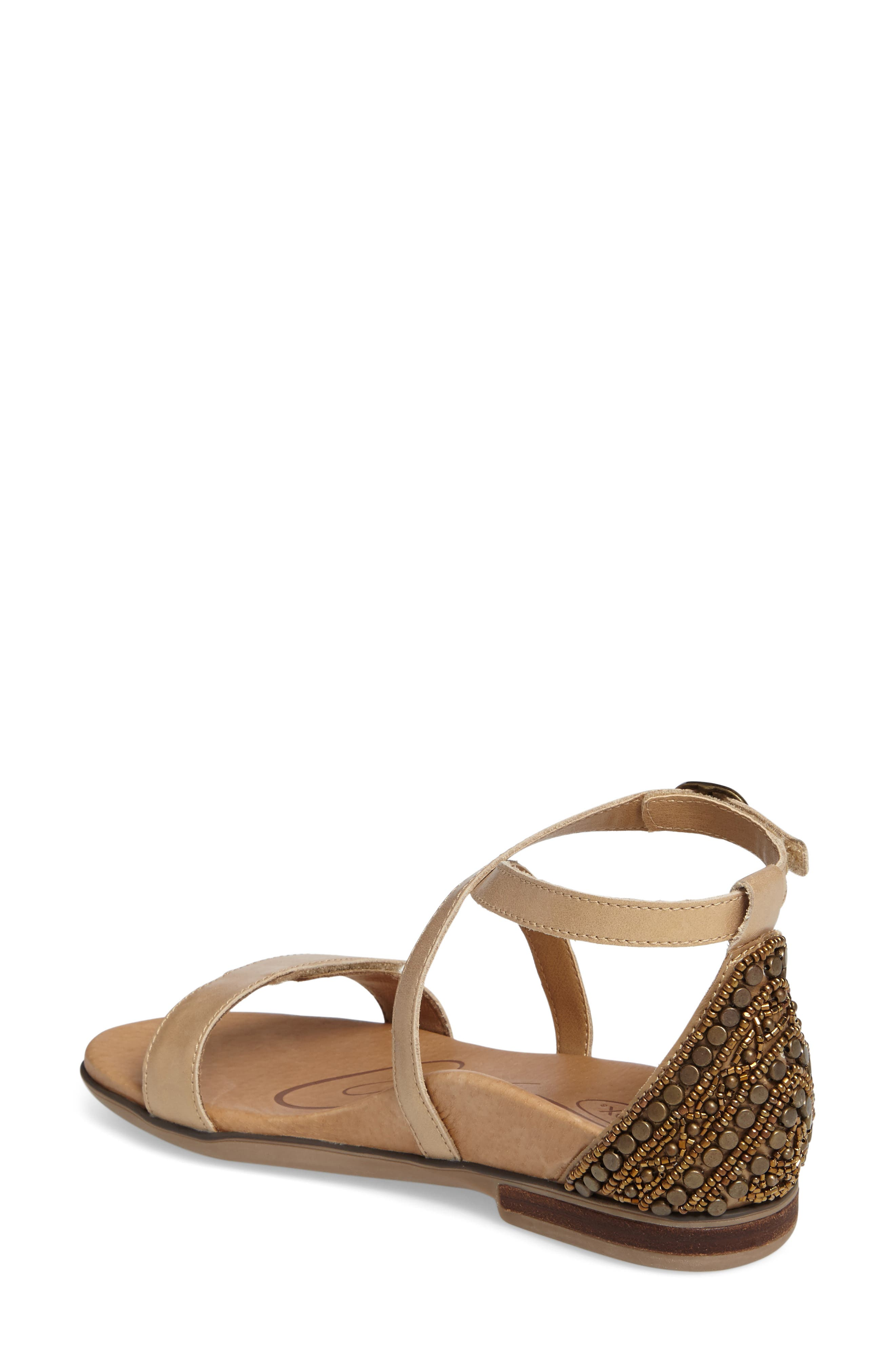AETREX, Brenda Embellished Cross Strap Sandal, Alternate thumbnail 2, color, STONE LEATHER