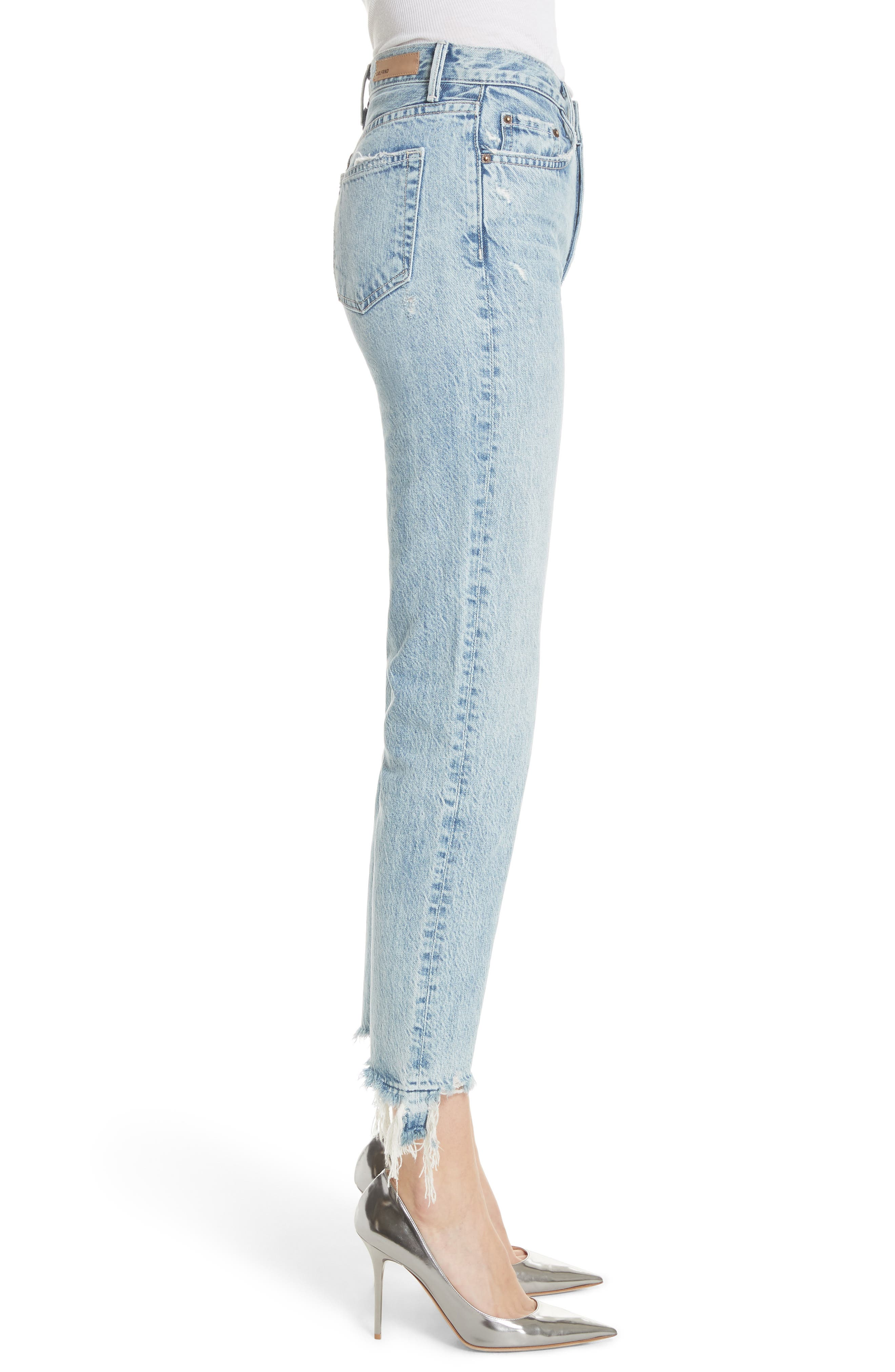 GRLFRND, Helena Frayed Hem High Waist Jeans, Alternate thumbnail 4, color, 401