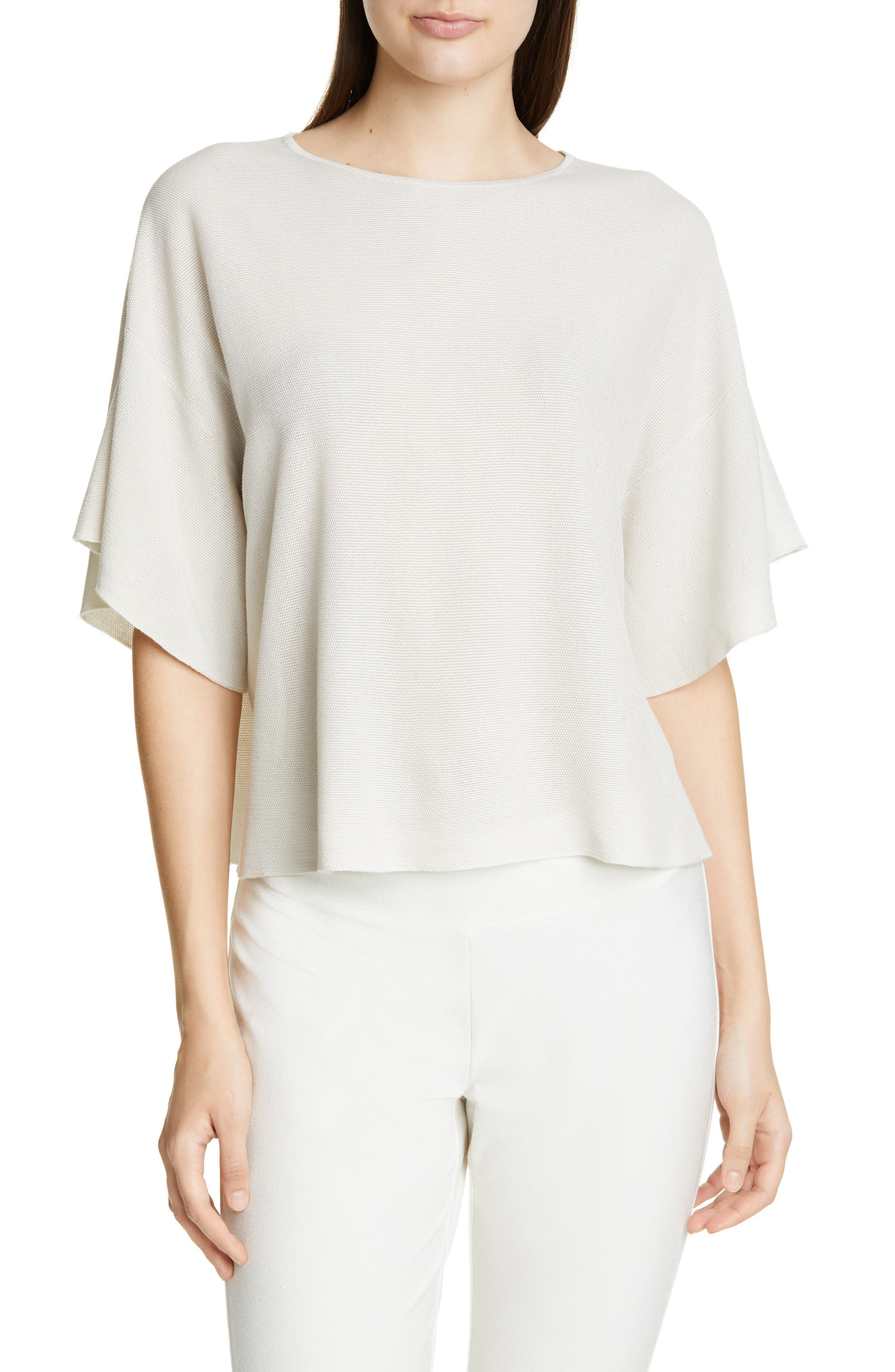 EILEEN FISHER, Elbow Sleeve Top, Main thumbnail 1, color, 100