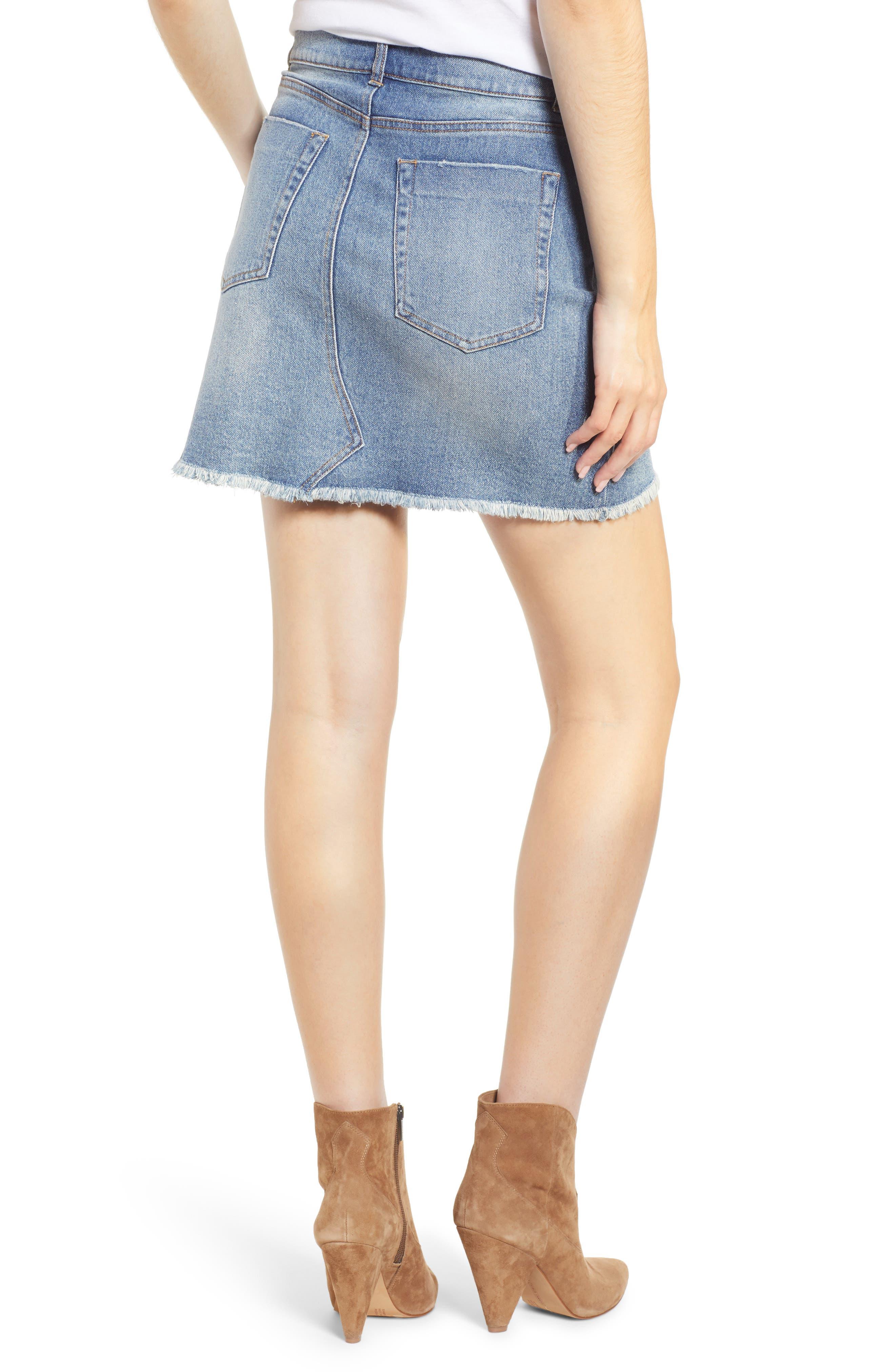 PROSPERITY DENIM, Raw Hem Denim Miniskirt, Alternate thumbnail 2, color, LIGHT WASH