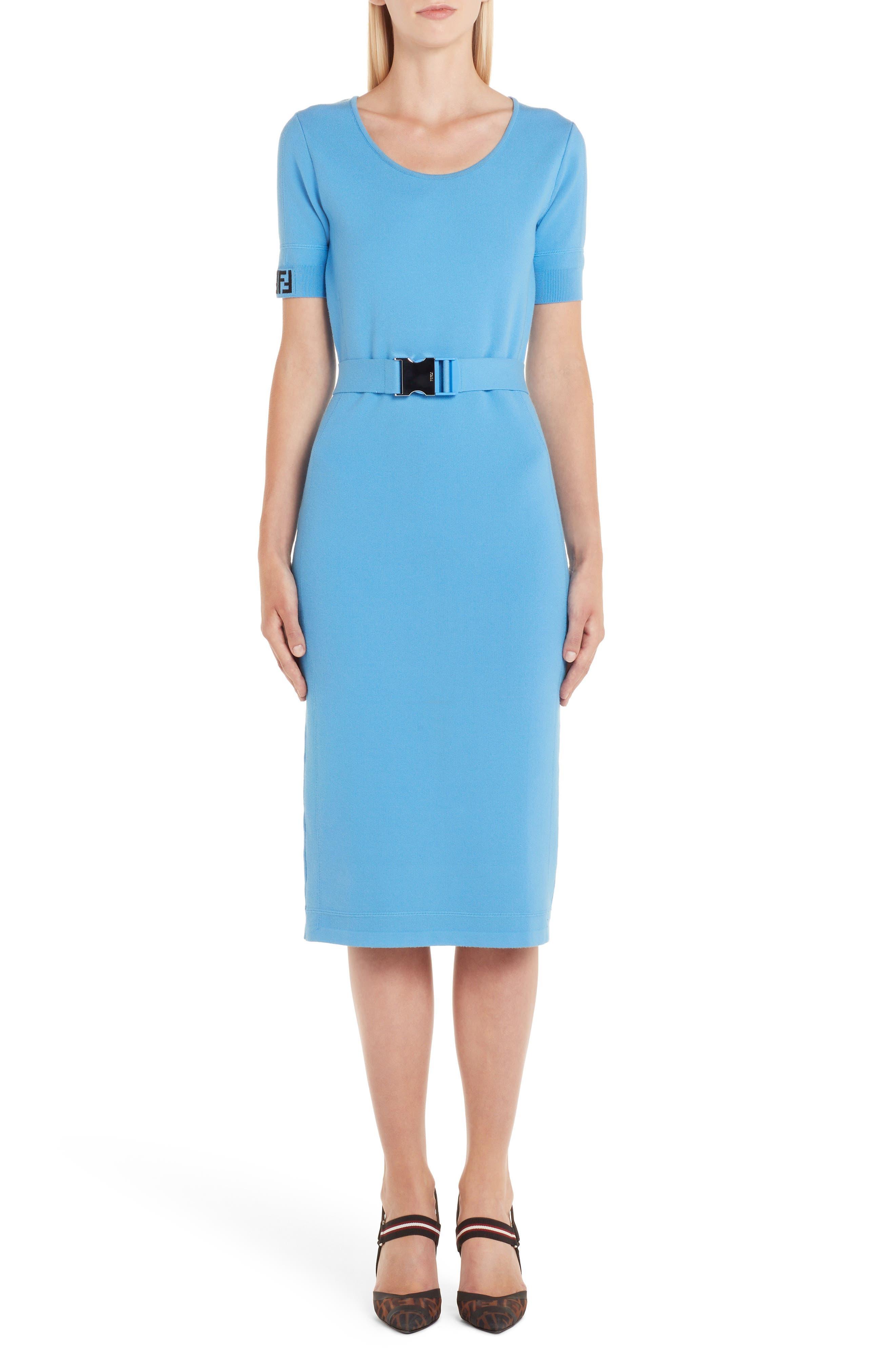 Fendi Belted Logo Dress, US / 46 IT - Blue