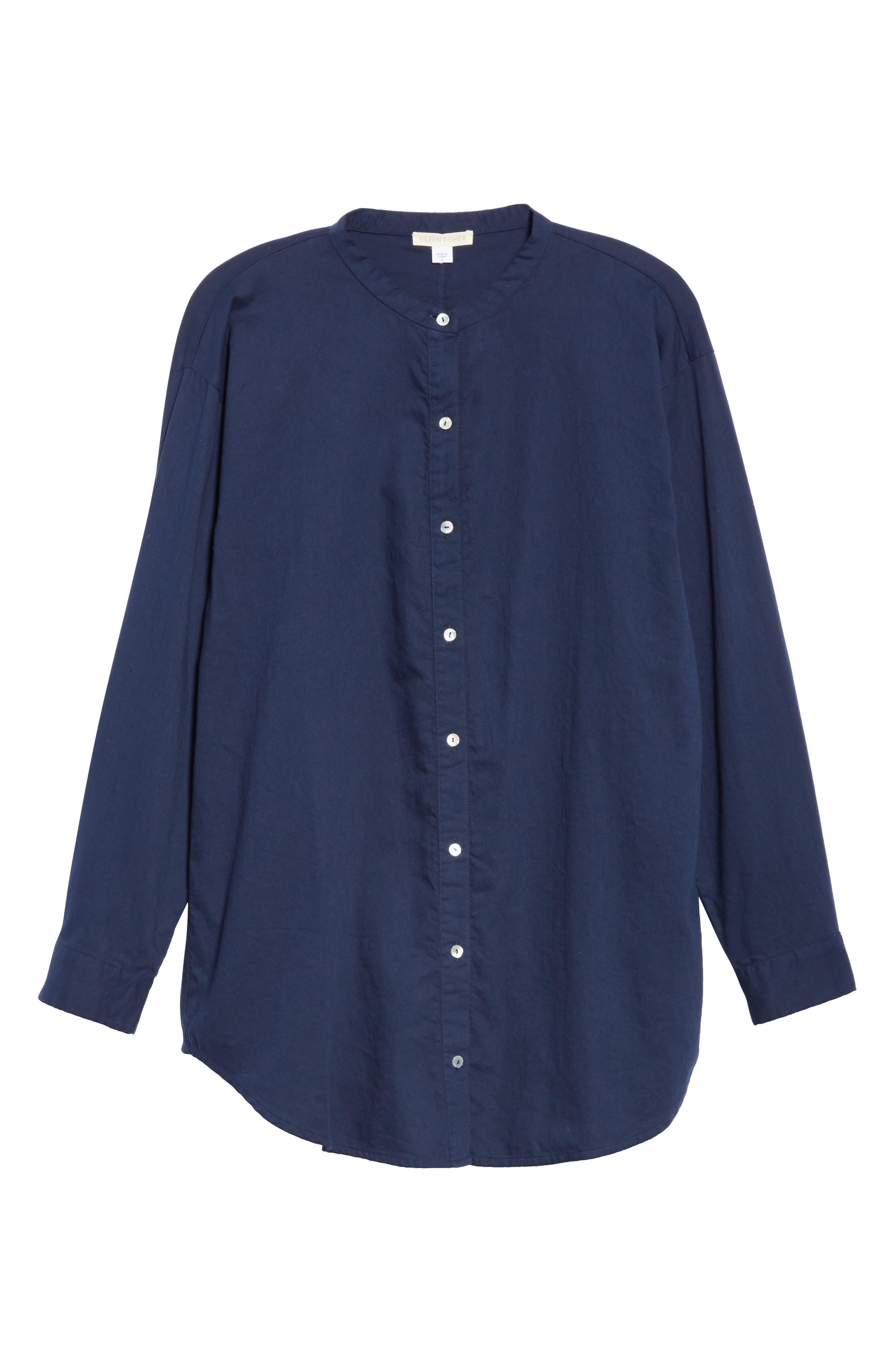 EILEEN FISHER, Mandarin Collar Organic Cotton Tunic Shirt, Alternate thumbnail 6, color, INDIGO
