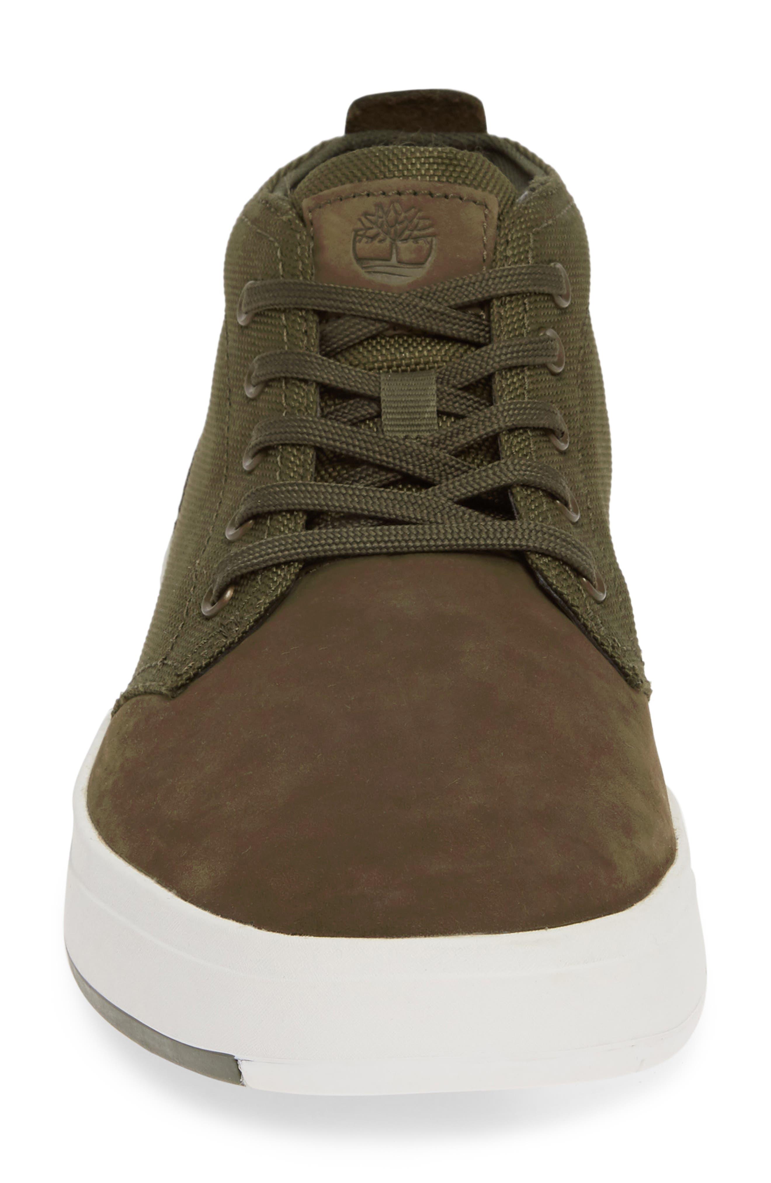 TIMBERLAND, Davis Square Mid Top Sneaker, Alternate thumbnail 4, color, DARK GREEN NUBUCK