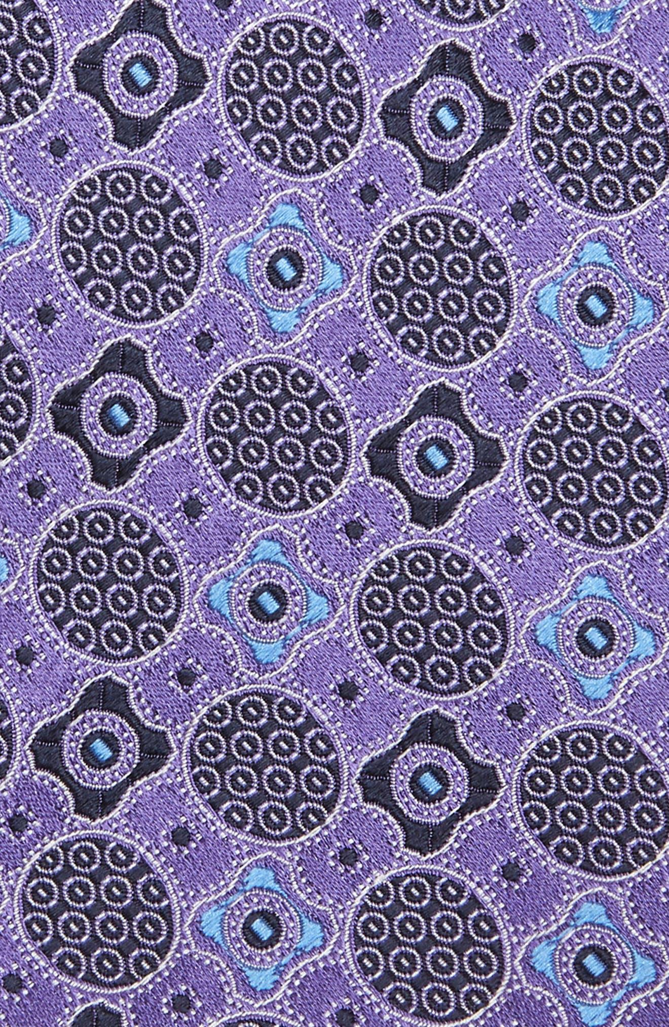 ERMENEGILDO ZEGNA, Microfloral Medallion Silk Tie, Alternate thumbnail 2, color, PURPLE