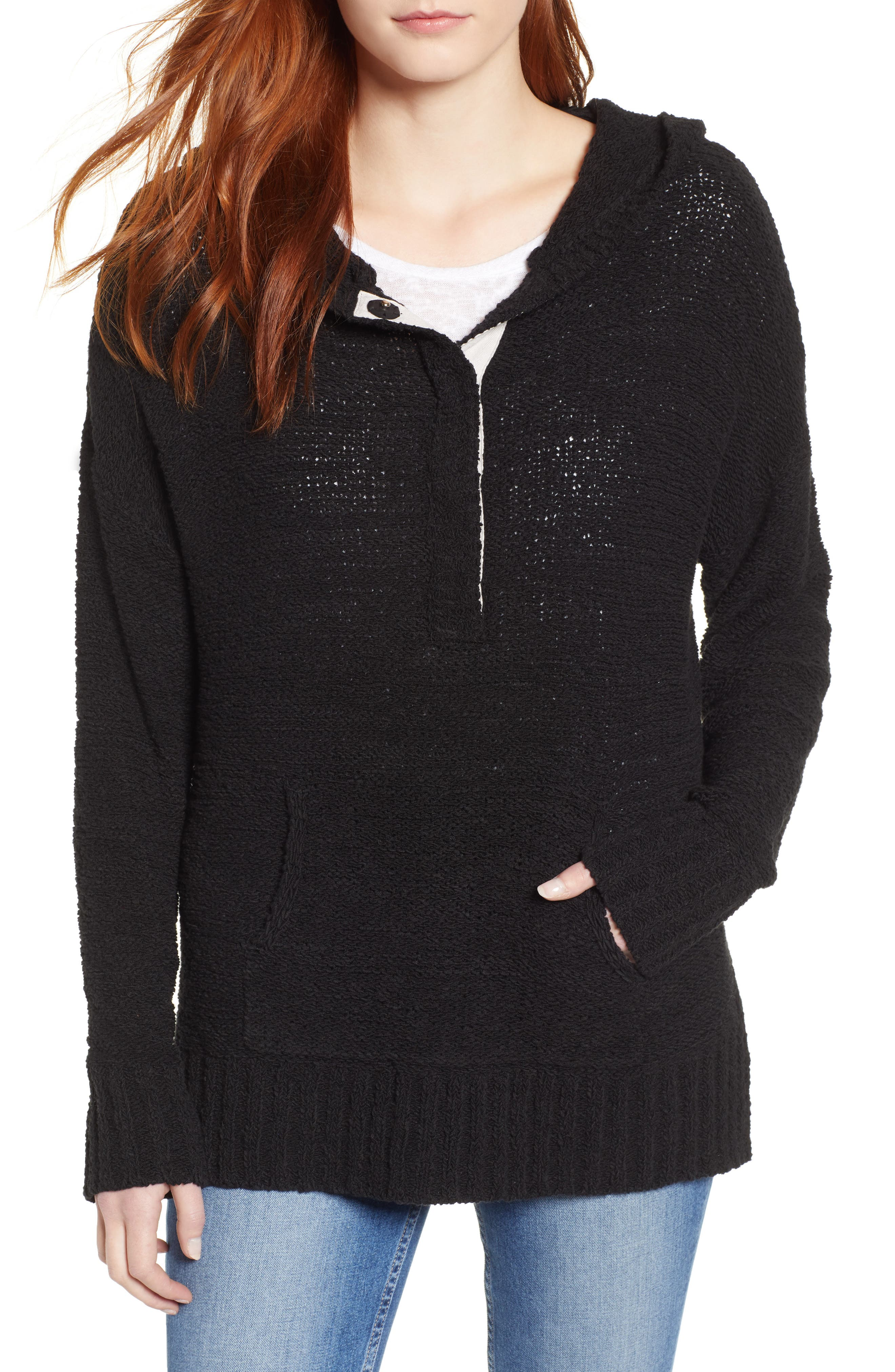 CASLON<SUP>®</SUP>, Beachy Hooded Knit Sweater, Main thumbnail 1, color, 001